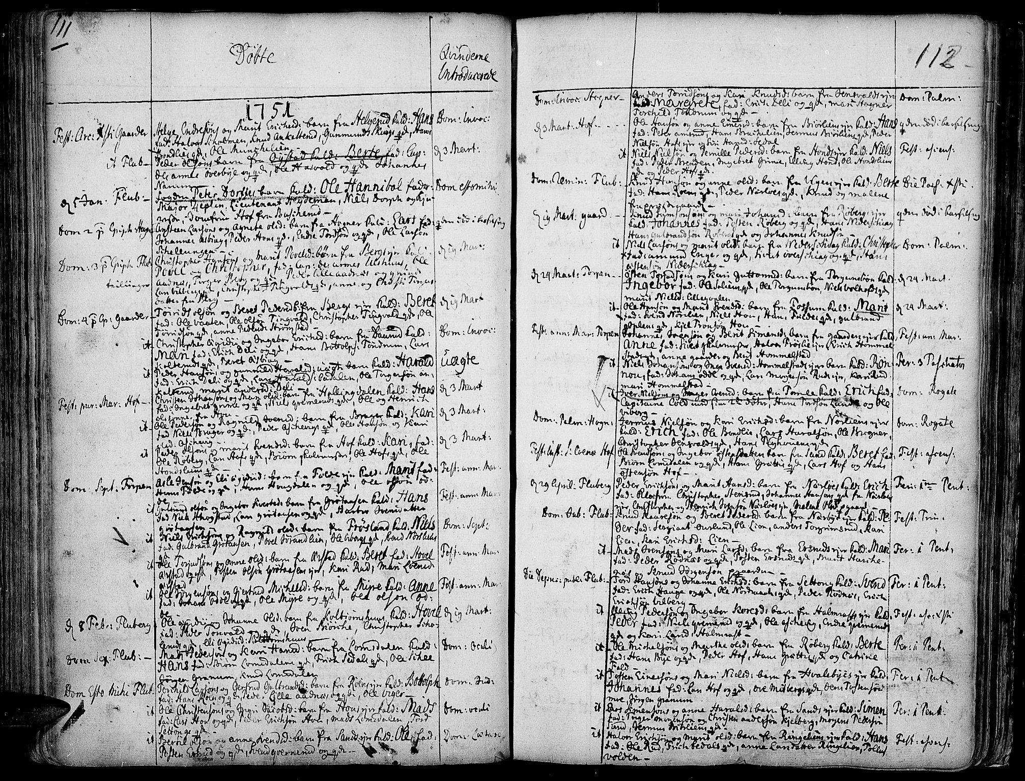 SAH, Land prestekontor, Ministerialbok nr. 2, 1733-1764, s. 111-112