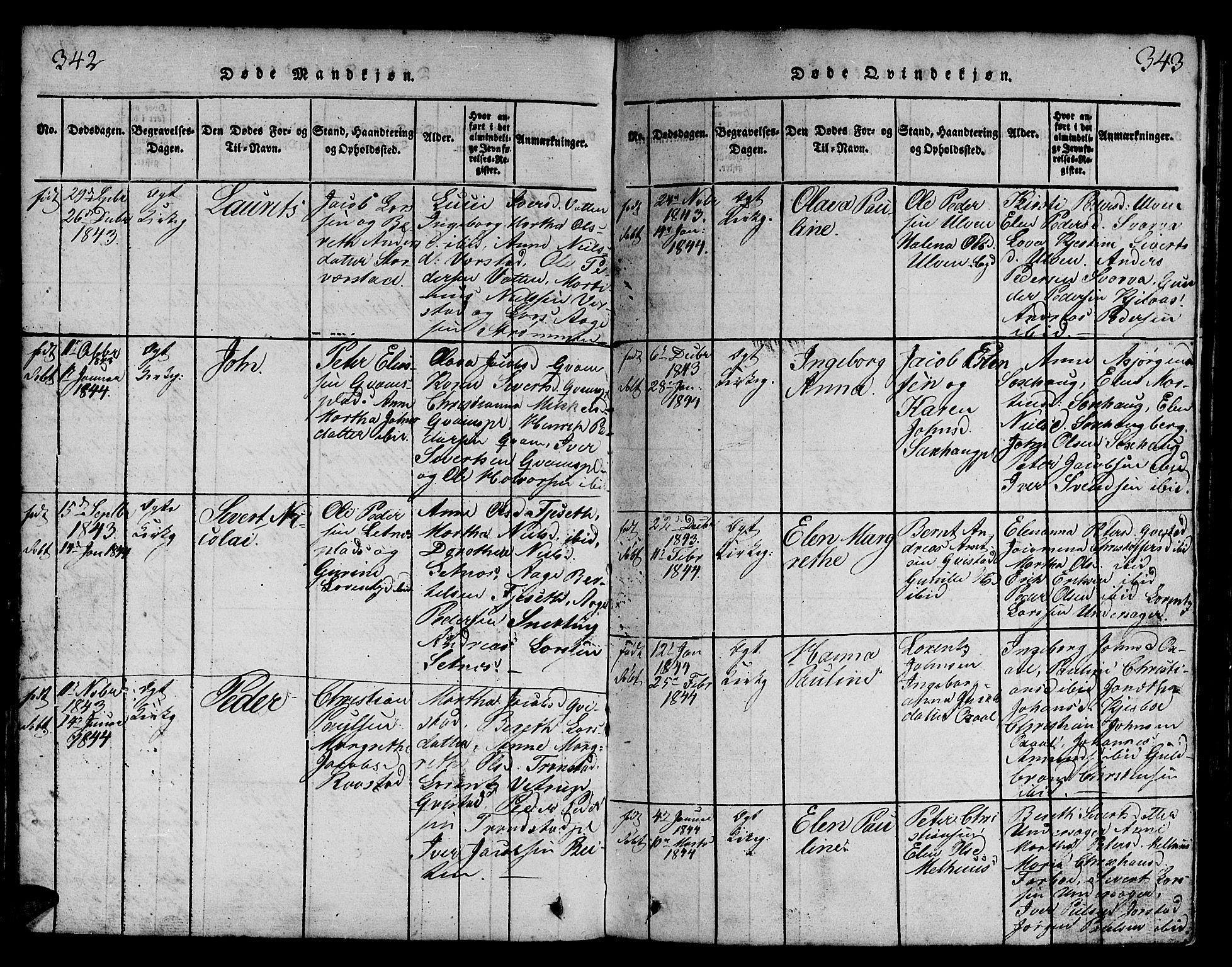 SAT, Ministerialprotokoller, klokkerbøker og fødselsregistre - Nord-Trøndelag, 730/L0298: Klokkerbok nr. 730C01, 1816-1849, s. 342-343
