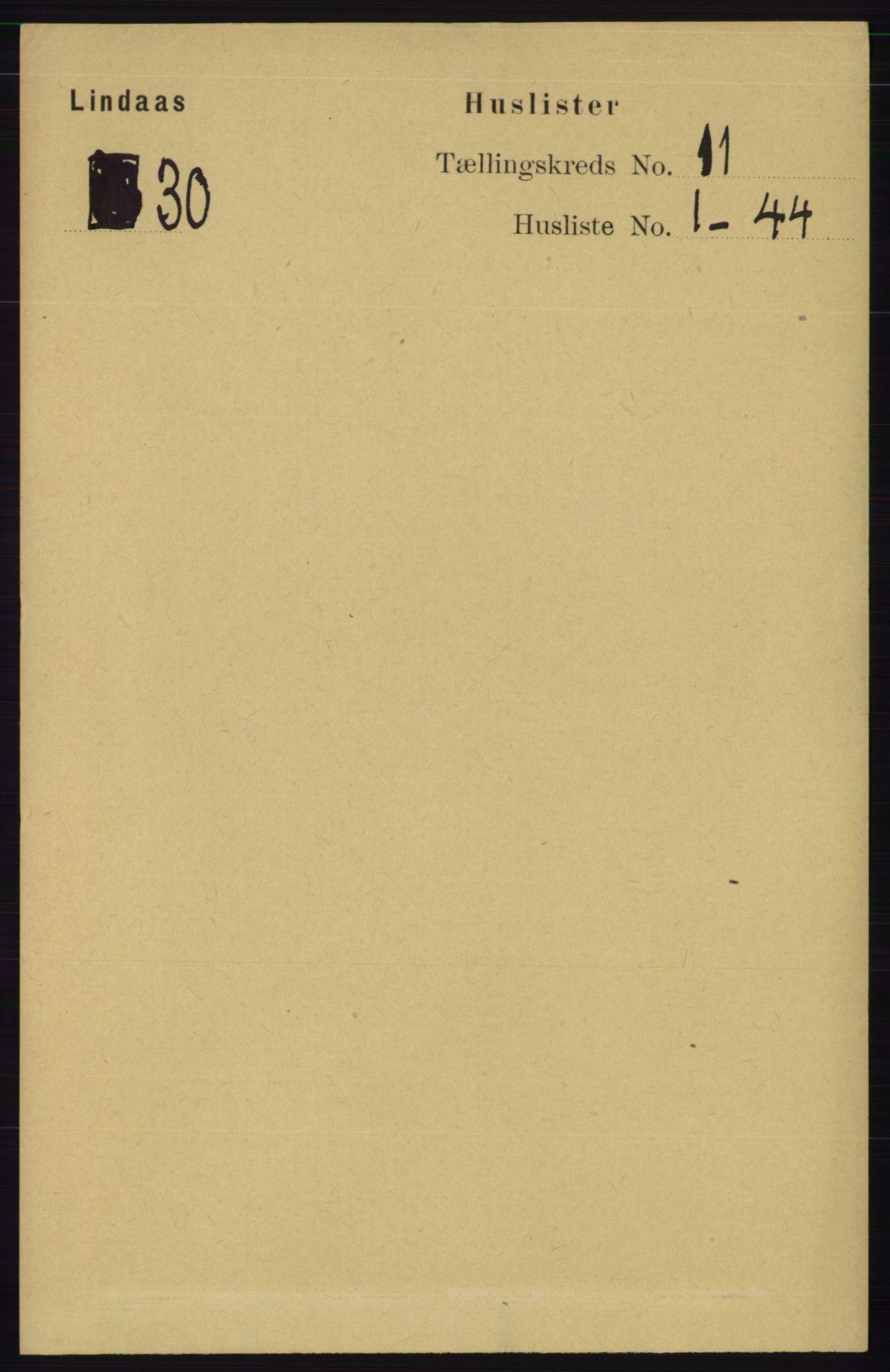 RA, Folketelling 1891 for 1263 Lindås herred, 1891, s. 3611