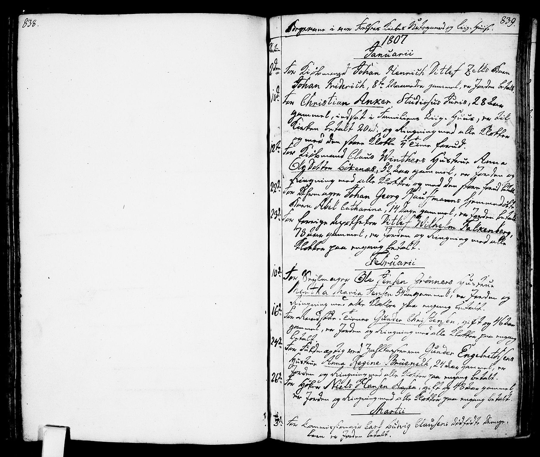 SAO, Oslo domkirke Kirkebøker, F/Fa/L0006: Ministerialbok nr. 6, 1807-1817, s. 838-839