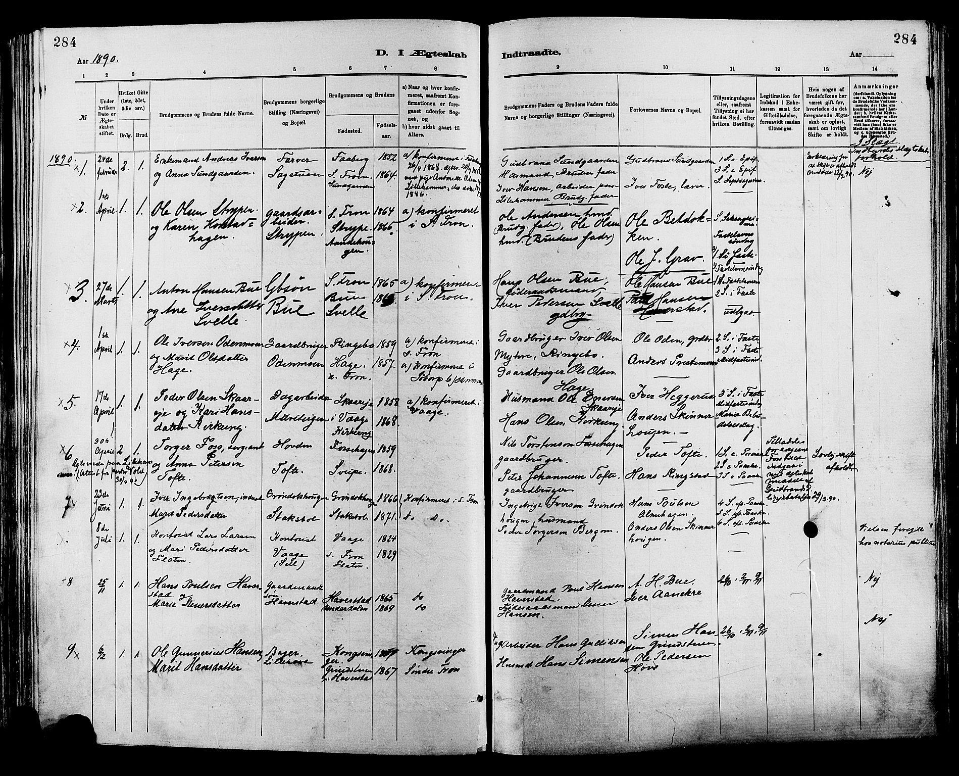 SAH, Sør-Fron prestekontor, H/Ha/Haa/L0003: Ministerialbok nr. 3, 1881-1897, s. 284