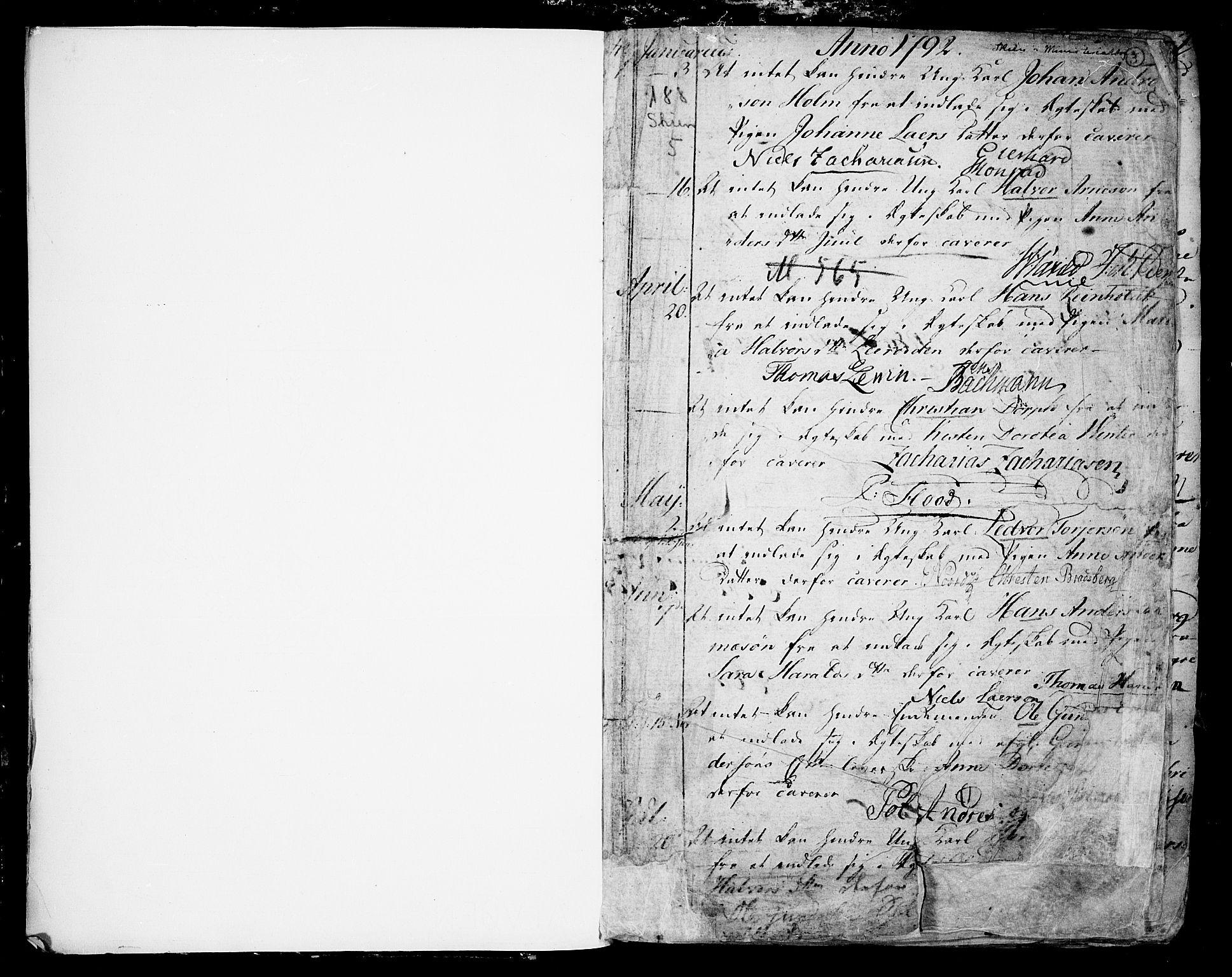 SAKO, Skien kirkebøker, F/Fa/L0004: Ministerialbok nr. 4, 1792-1814, s. 2-3