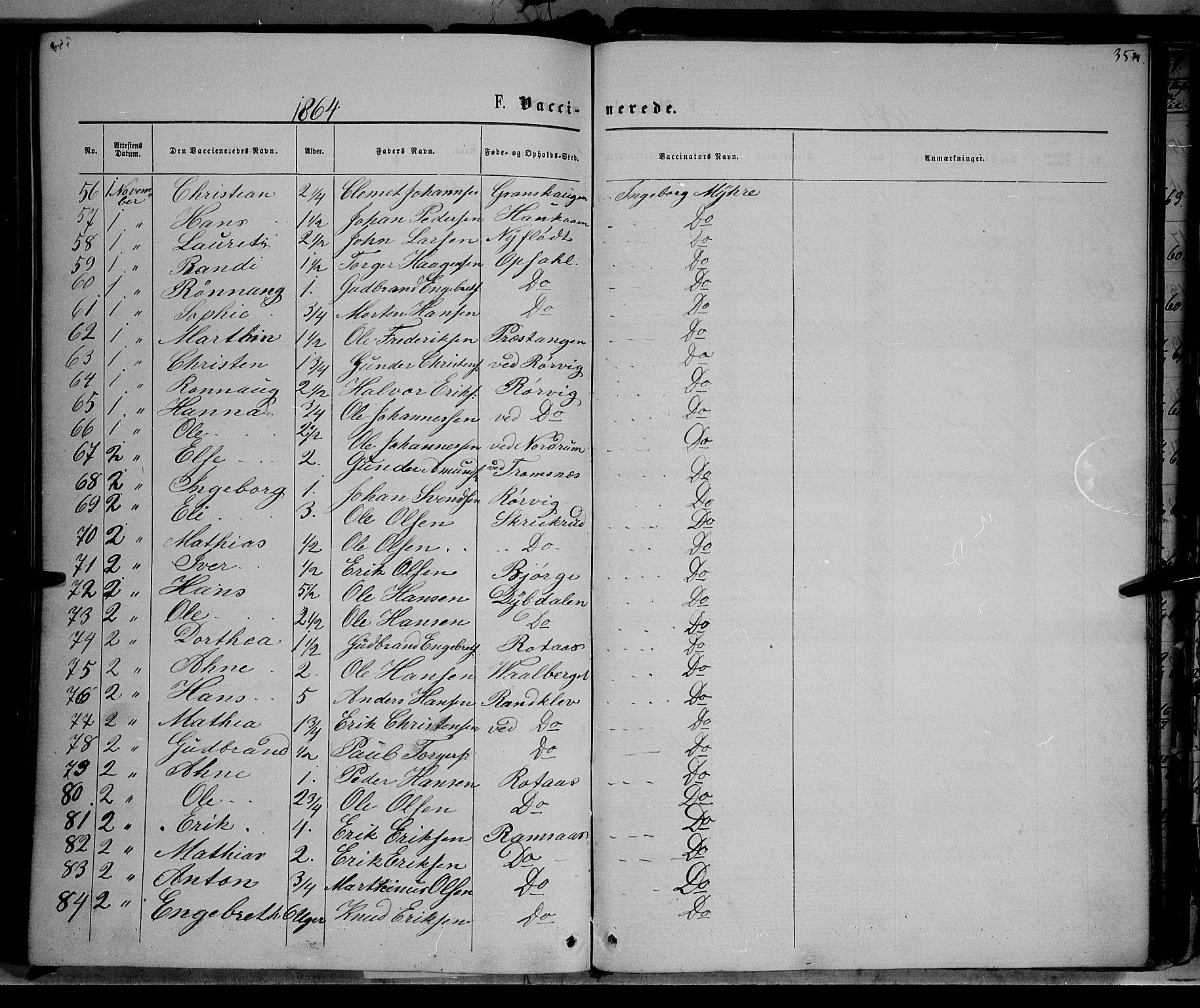 SAH, Ringebu prestekontor, Ministerialbok nr. 7, 1860-1877, s. 354