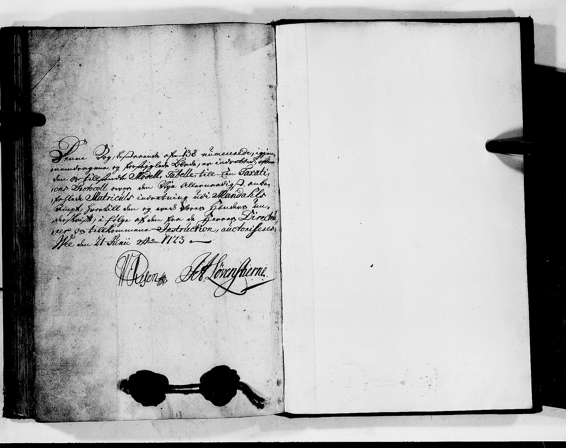 RA, Rentekammeret inntil 1814, Realistisk ordnet avdeling, N/Nb/Nbf/L0128: Mandal matrikkelprotokoll, 1723, s. upaginert