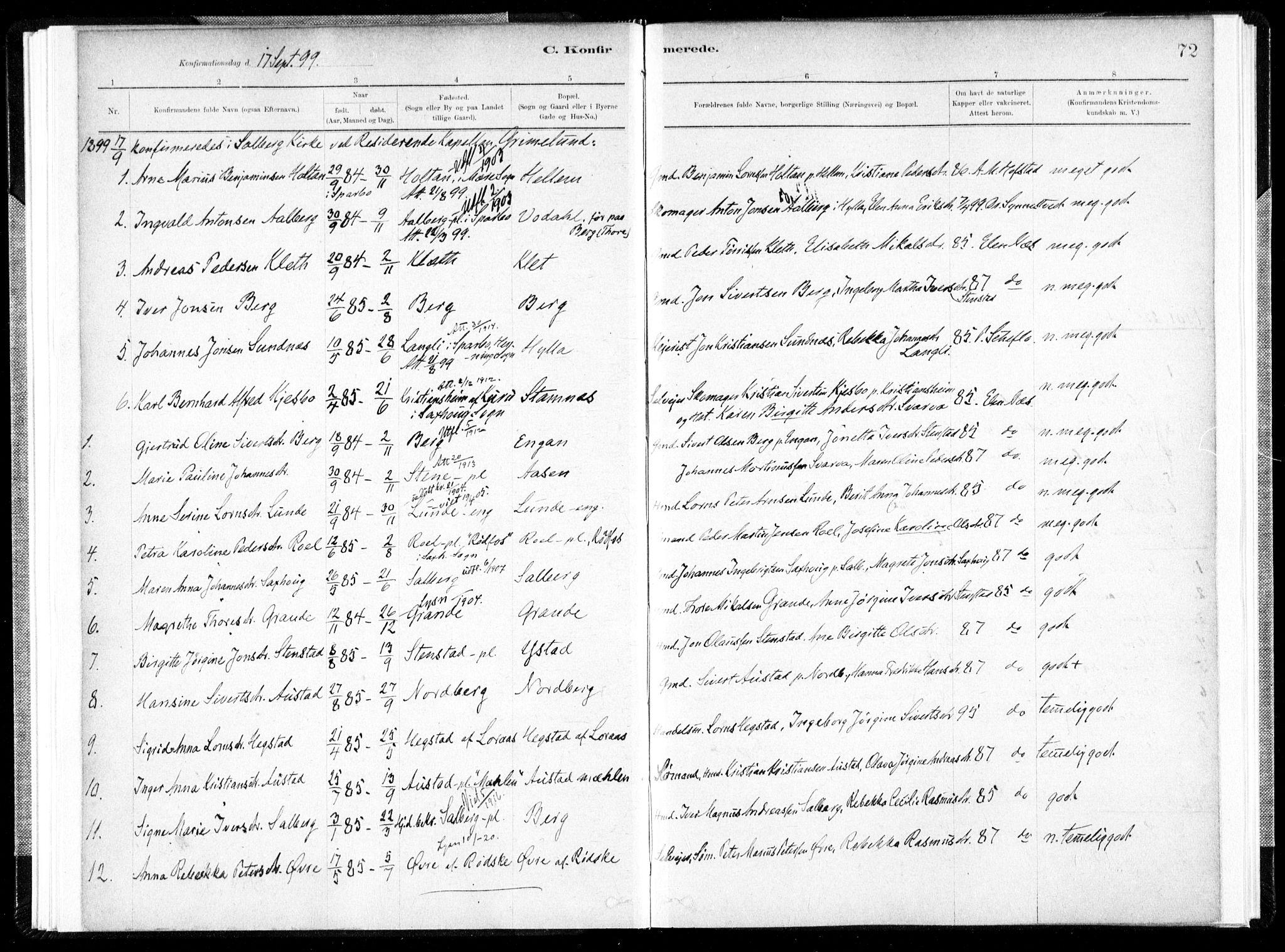 SAT, Ministerialprotokoller, klokkerbøker og fødselsregistre - Nord-Trøndelag, 731/L0309: Ministerialbok nr. 731A01, 1879-1918, s. 72