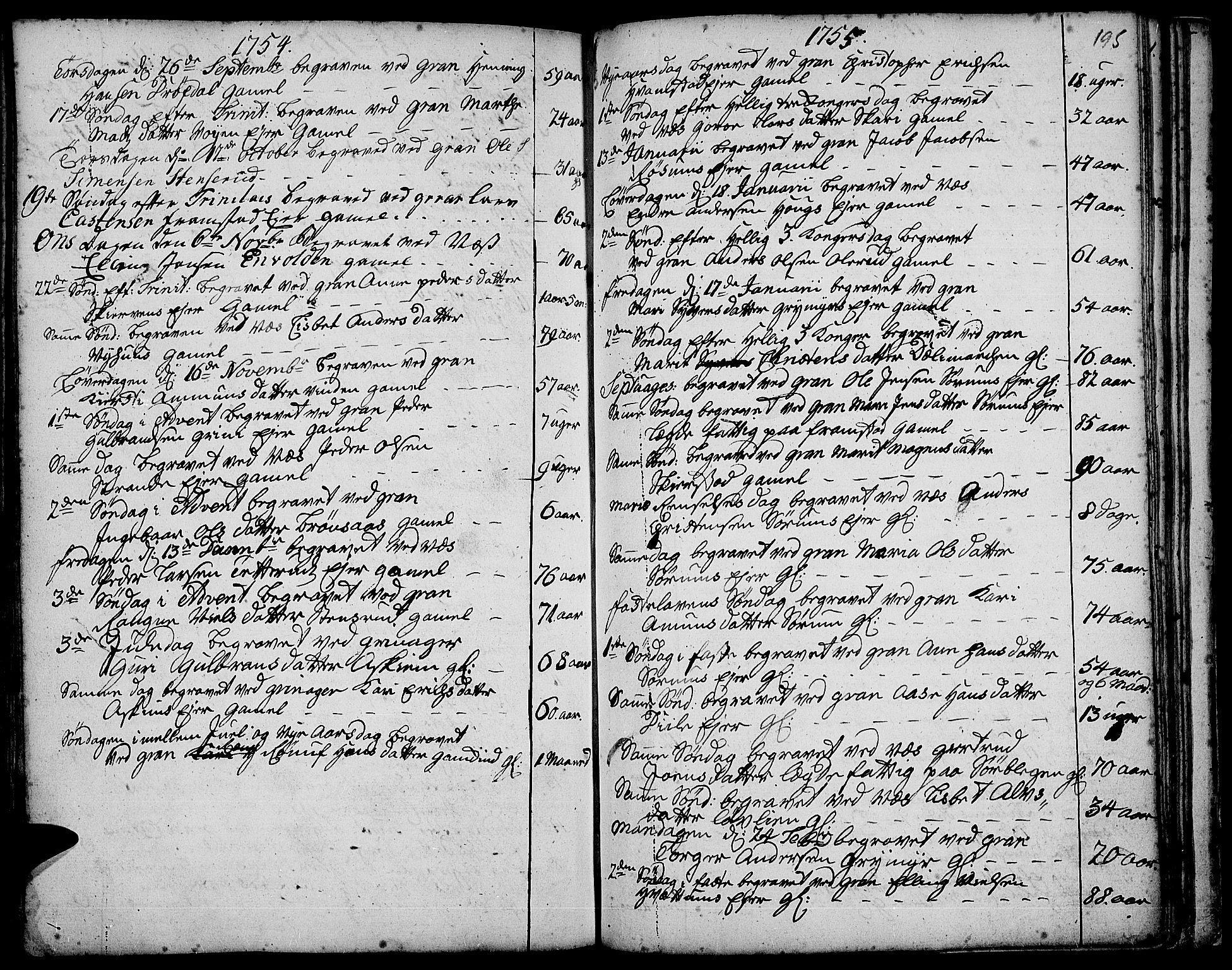 SAH, Gran prestekontor, Ministerialbok nr. 3, 1745-1758, s. 195
