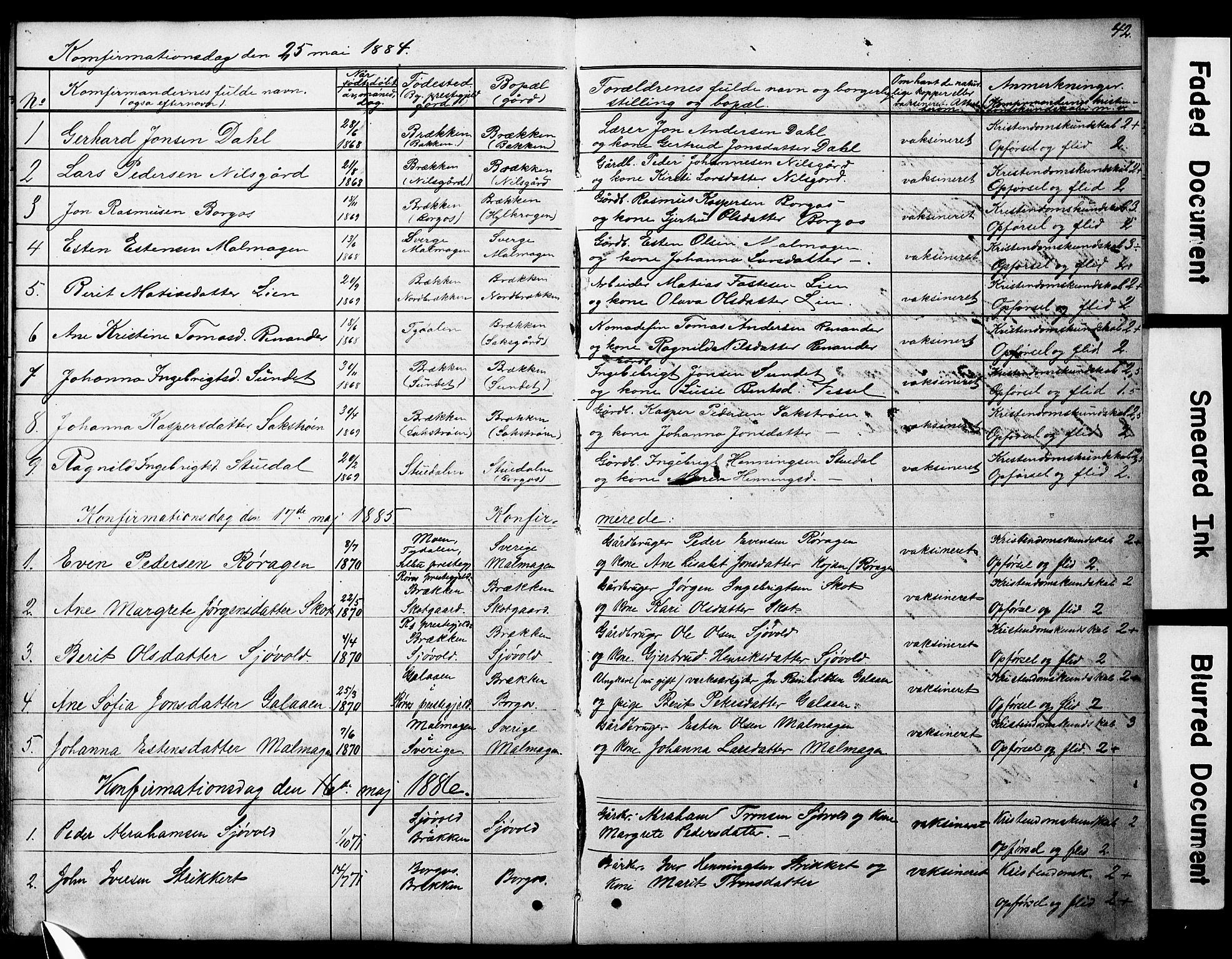 SAT, Ministerialprotokoller, klokkerbøker og fødselsregistre - Sør-Trøndelag, 683/L0949: Klokkerbok nr. 683C01, 1880-1896, s. 42