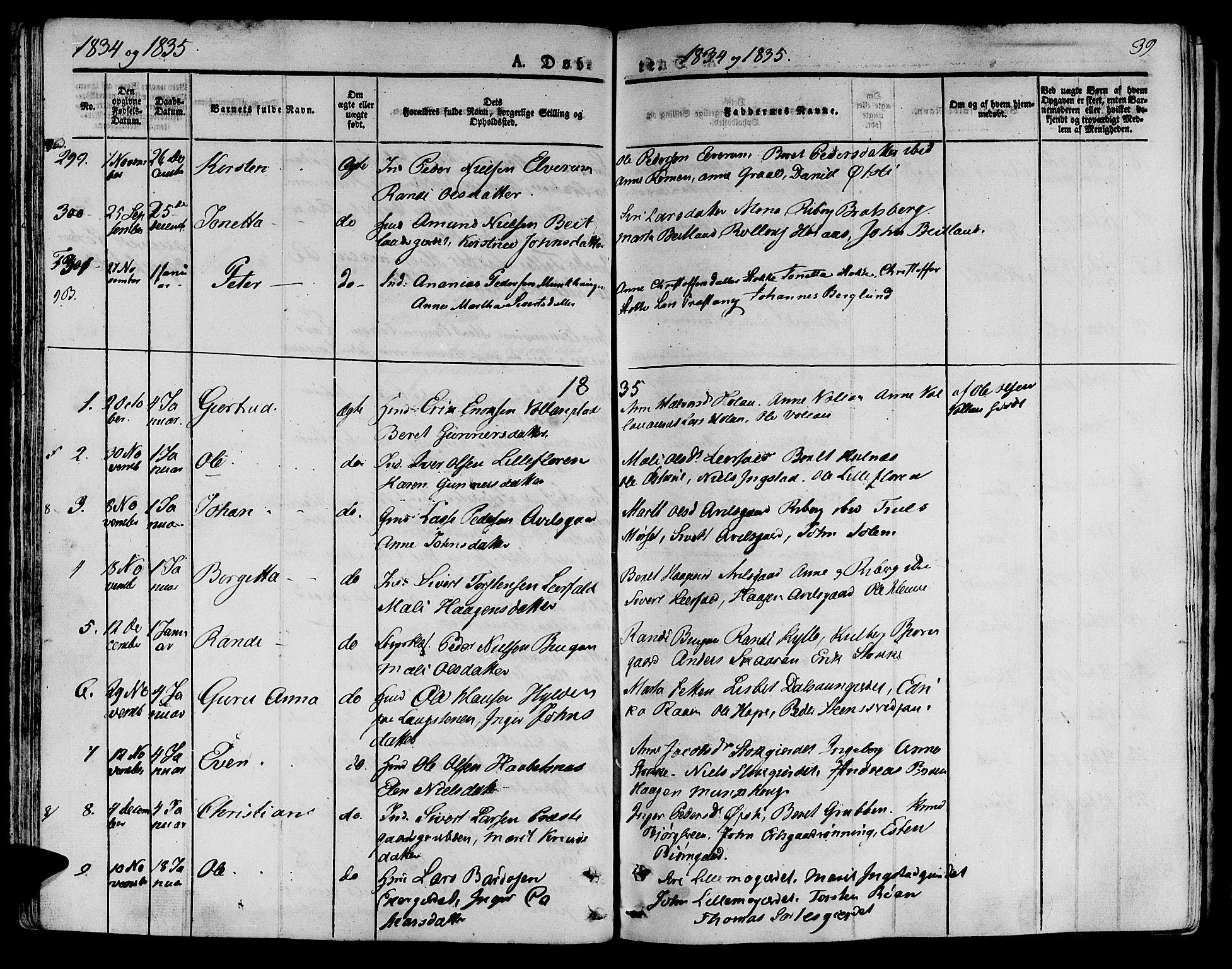 SAT, Ministerialprotokoller, klokkerbøker og fødselsregistre - Nord-Trøndelag, 709/L0071: Ministerialbok nr. 709A11, 1833-1844, s. 39