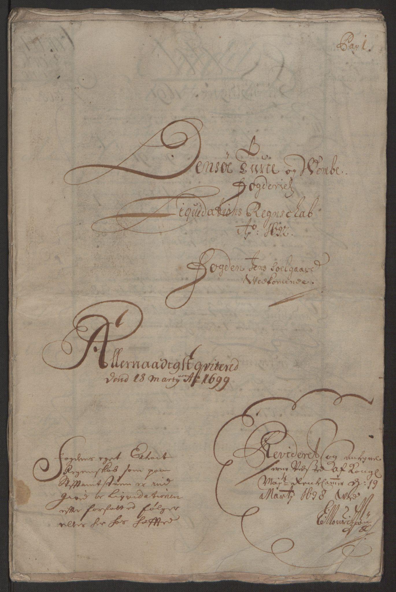 RA, Rentekammeret inntil 1814, Reviderte regnskaper, Fogderegnskap, R03/L0120: Fogderegnskap Onsøy, Tune, Veme og Åbygge fogderi, 1692-1693, s. 2