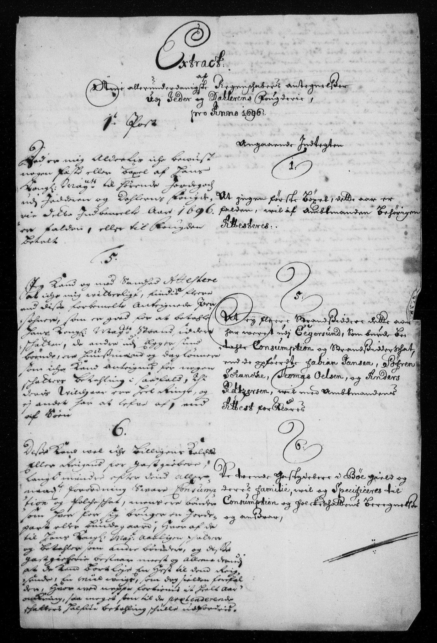 RA, Rentekammeret inntil 1814, Reviderte regnskaper, Fogderegnskap, R46/L2728: Fogderegnskap Jæren og Dalane, 1694-1696, s. 530