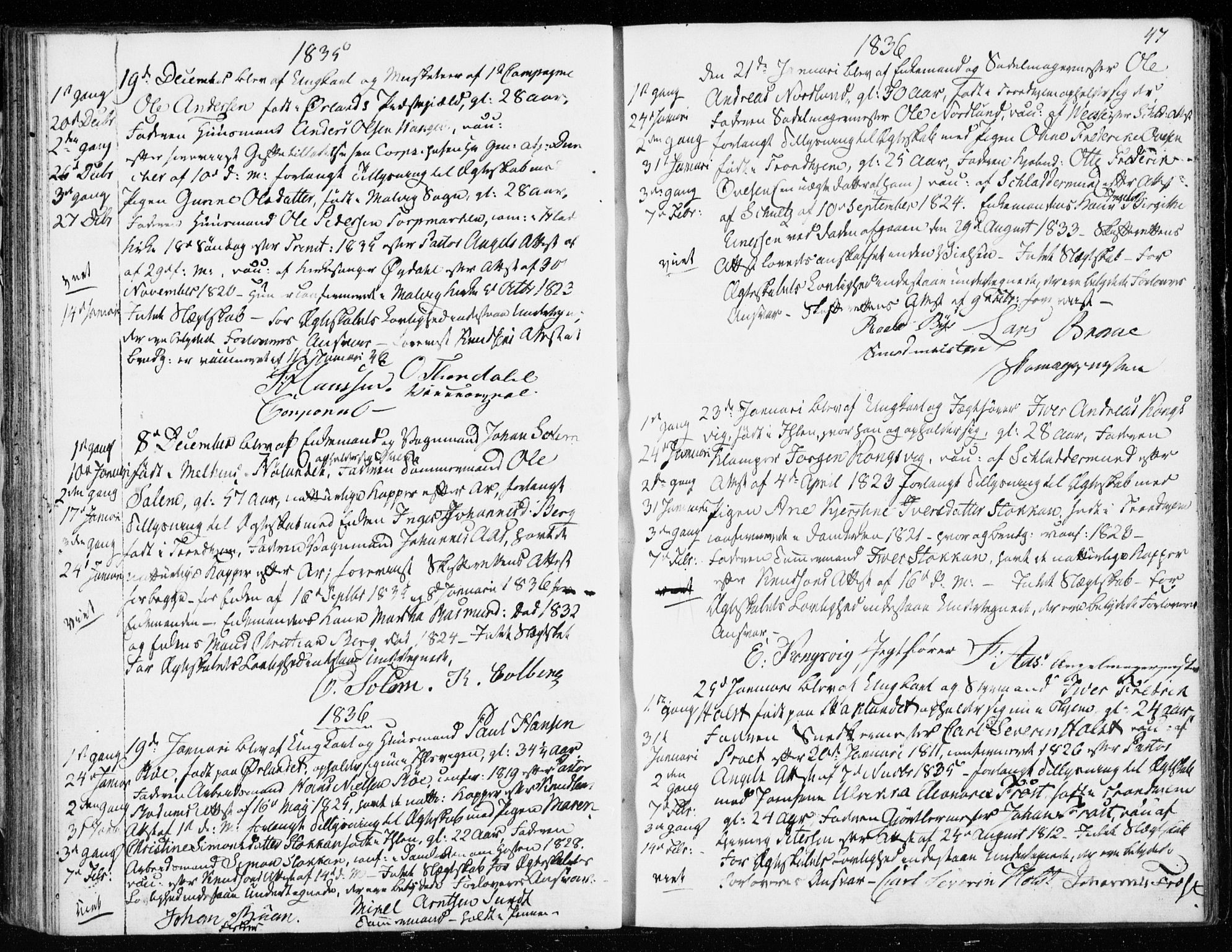 SAT, Ministerialprotokoller, klokkerbøker og fødselsregistre - Sør-Trøndelag, 601/L0046: Ministerialbok nr. 601A14, 1830-1841, s. 47