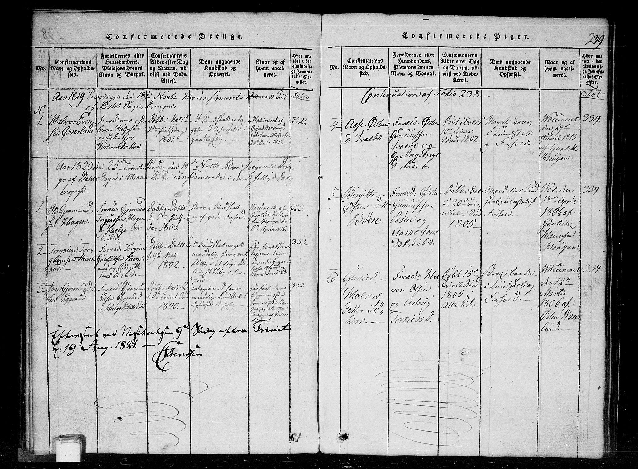SAKO, Tinn kirkebøker, G/Gc/L0001: Klokkerbok nr. III 1, 1815-1879, s. 239