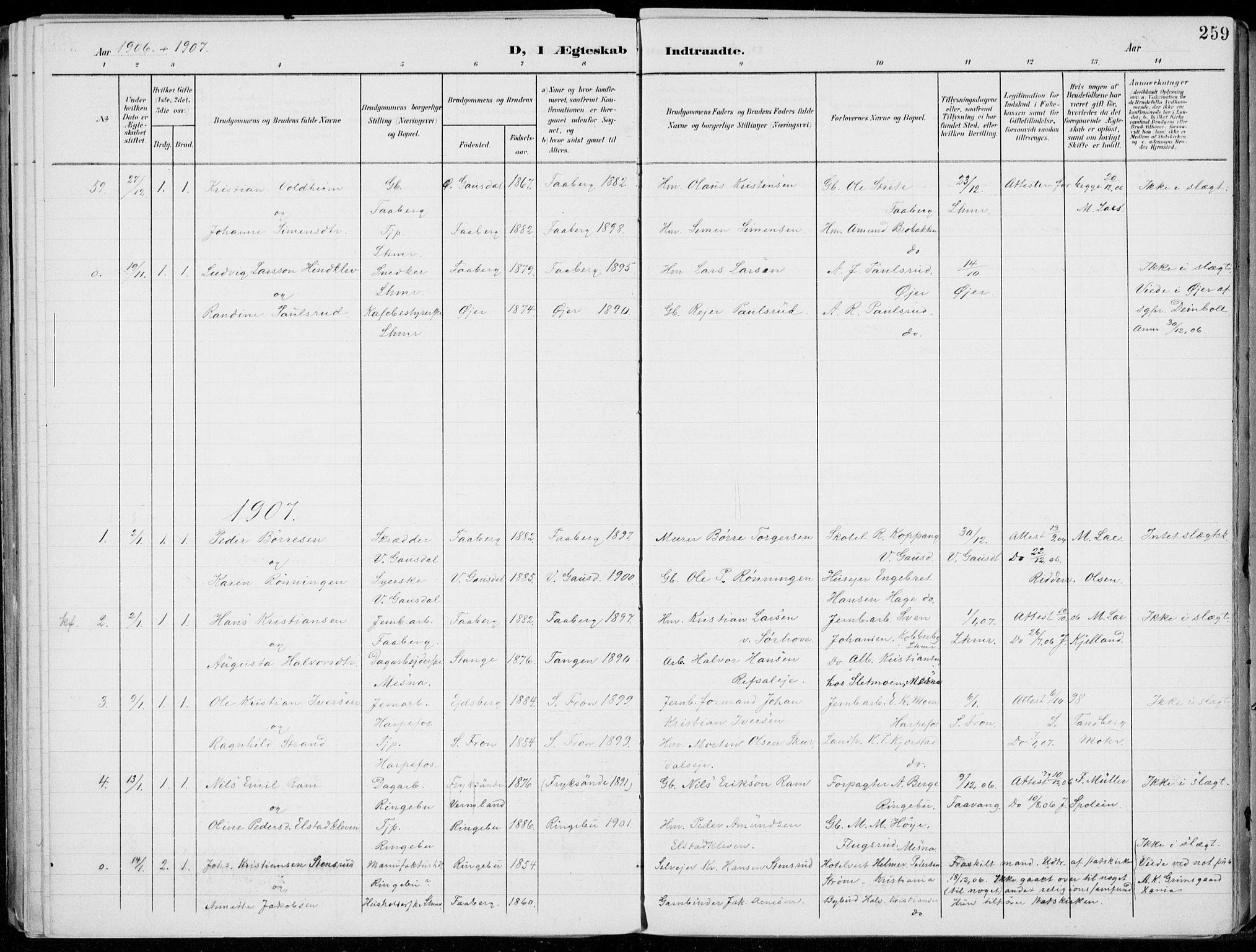 SAH, Lillehammer prestekontor, Ministerialbok nr. 1, 1901-1916, s. 259