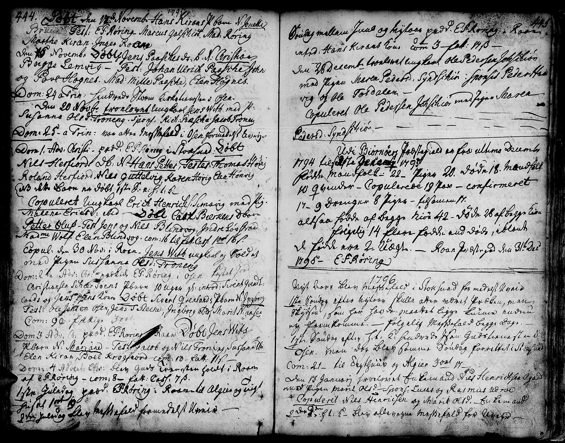 SAT, Ministerialprotokoller, klokkerbøker og fødselsregistre - Sør-Trøndelag, 657/L0700: Ministerialbok nr. 657A01, 1732-1801, s. 444-445