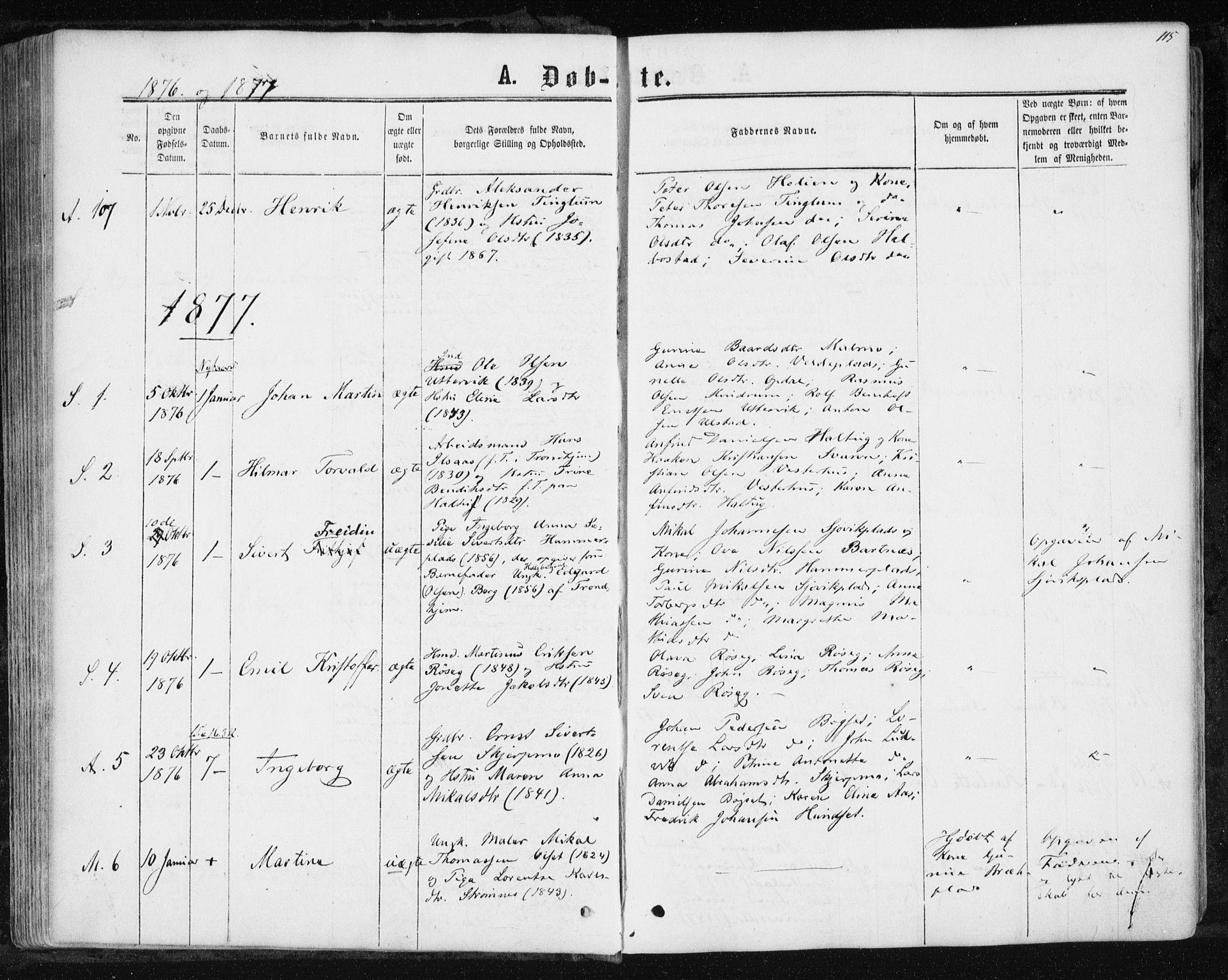 SAT, Ministerialprotokoller, klokkerbøker og fødselsregistre - Nord-Trøndelag, 741/L0394: Ministerialbok nr. 741A08, 1864-1877, s. 115