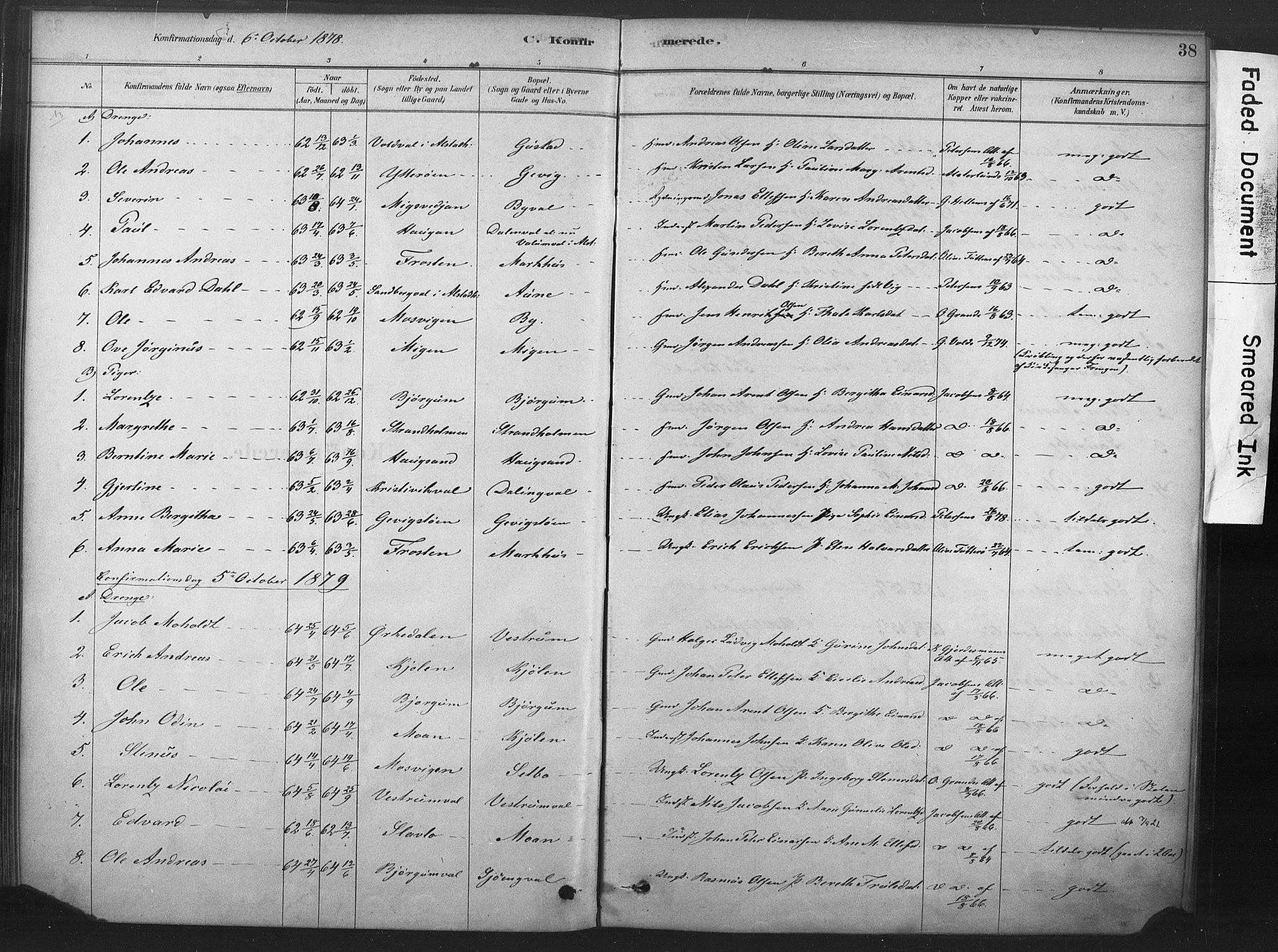 SAT, Ministerialprotokoller, klokkerbøker og fødselsregistre - Nord-Trøndelag, 719/L0178: Ministerialbok nr. 719A01, 1878-1900, s. 38