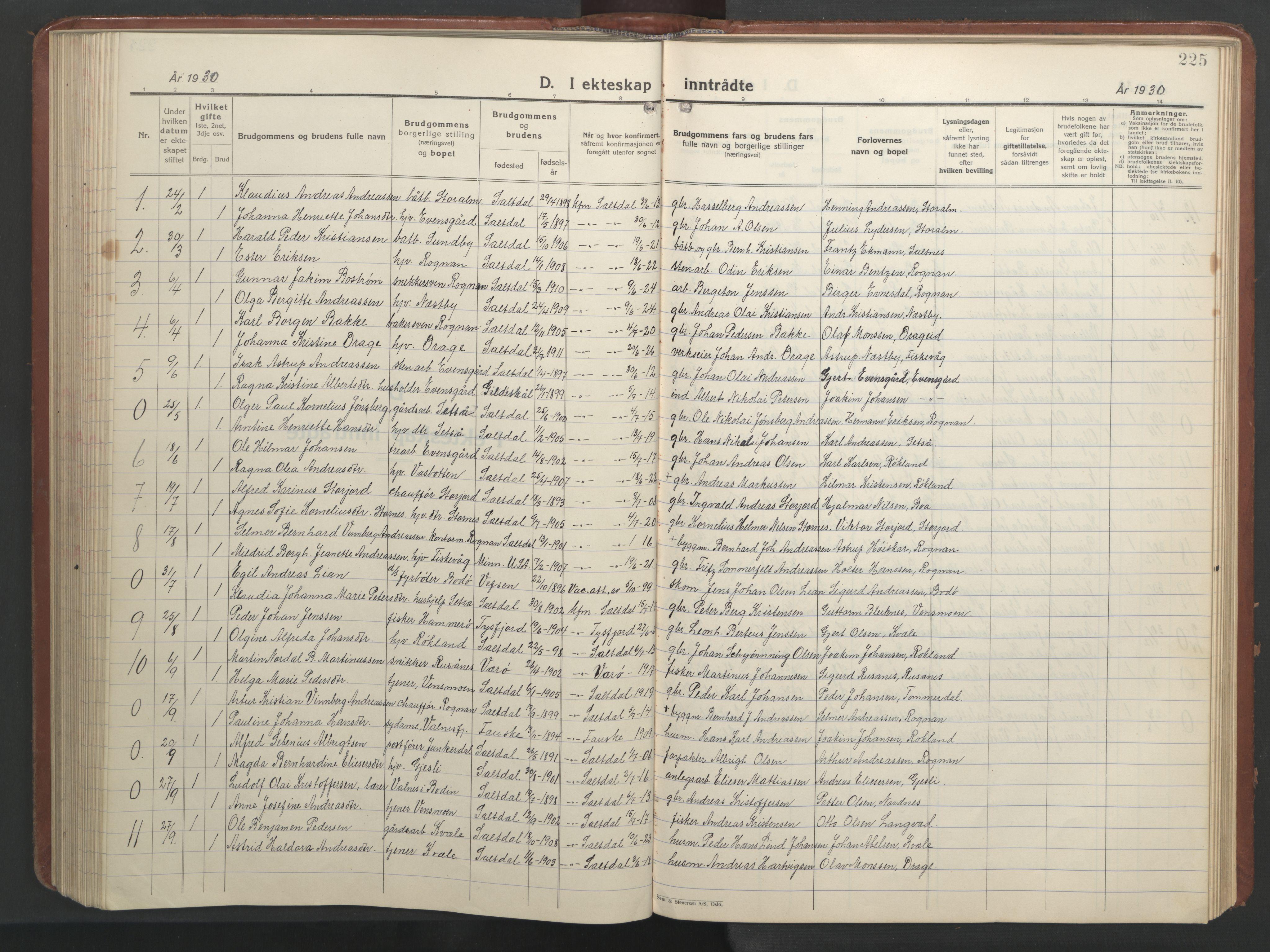 SAT, Ministerialprotokoller, klokkerbøker og fødselsregistre - Nordland, 847/L0680: Klokkerbok nr. 847C08, 1930-1947, s. 225