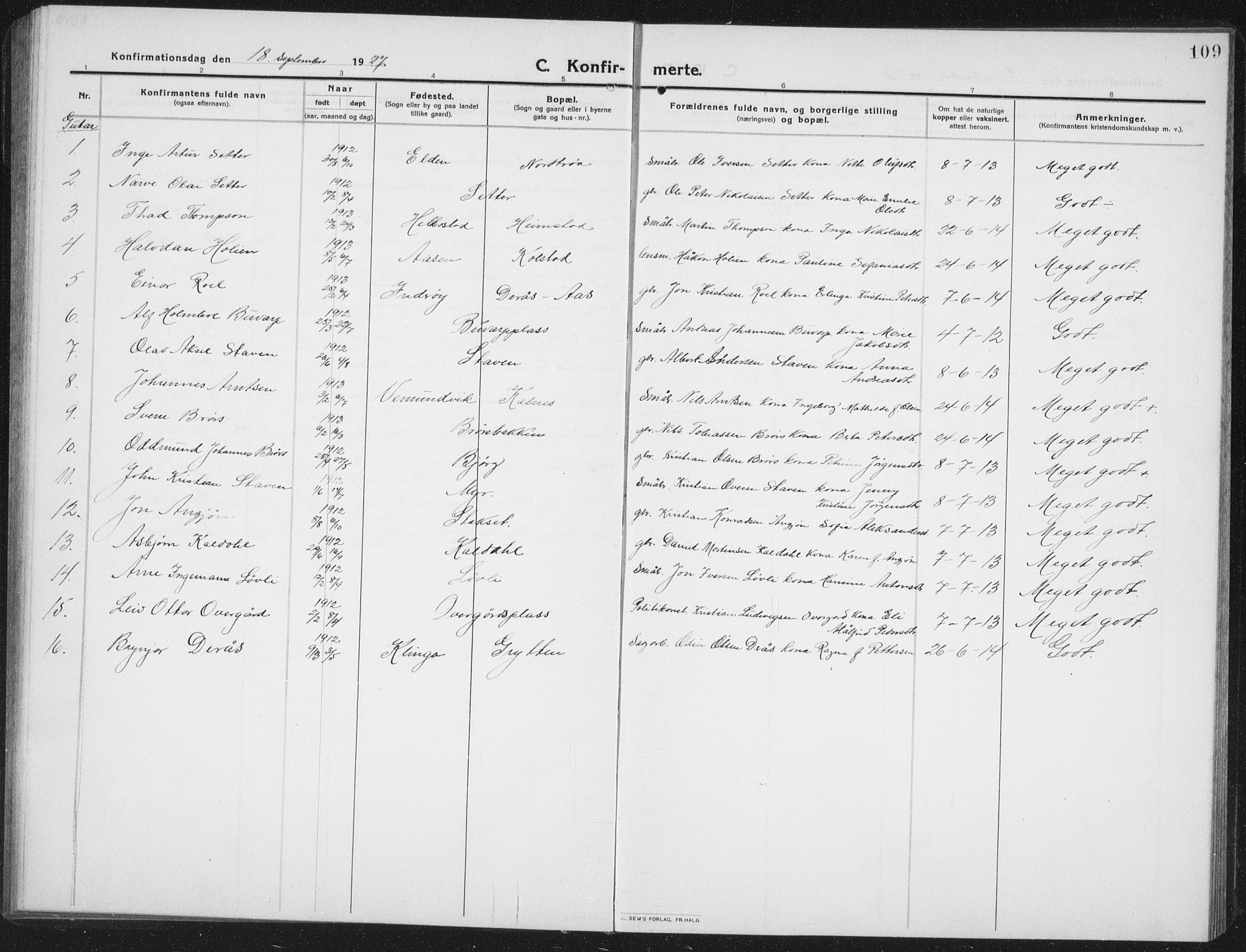 SAT, Ministerialprotokoller, klokkerbøker og fødselsregistre - Nord-Trøndelag, 742/L0413: Klokkerbok nr. 742C04, 1911-1938, s. 109