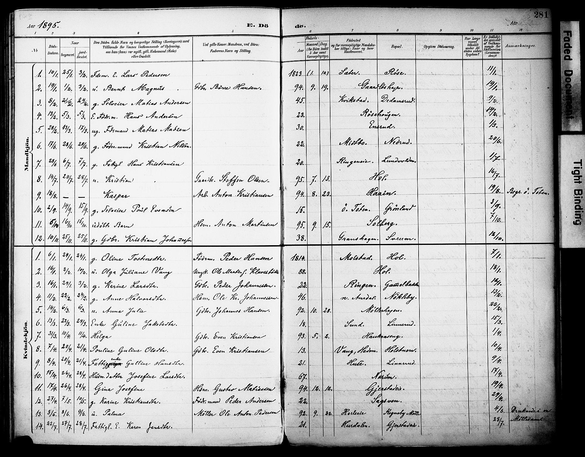SAH, Vestre Toten prestekontor, H/Ha/Haa/L0013: Ministerialbok nr. 13, 1895-1911, s. 281
