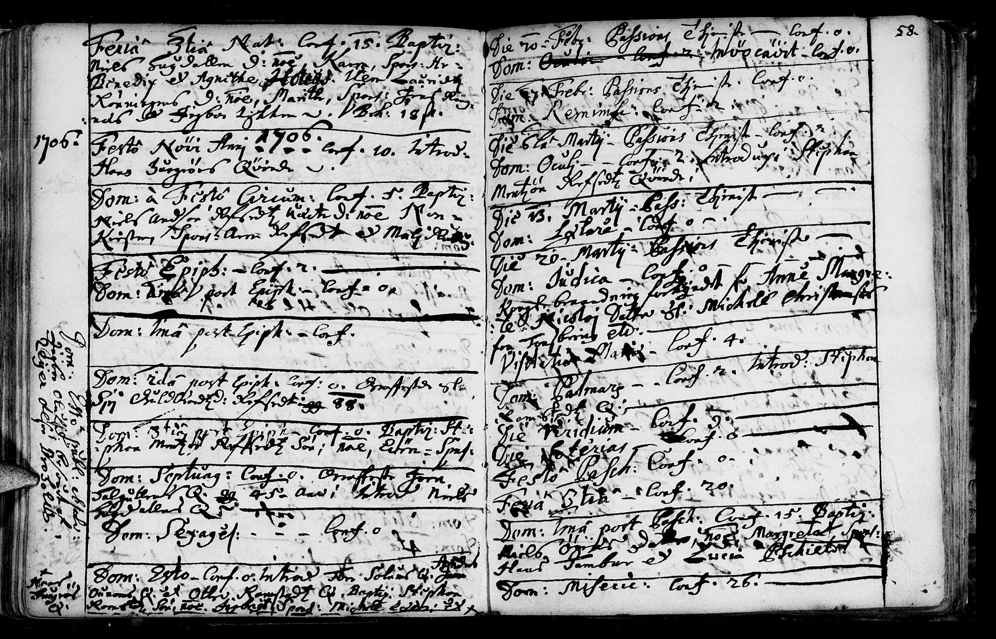 SAT, Ministerialprotokoller, klokkerbøker og fødselsregistre - Sør-Trøndelag, 687/L0990: Ministerialbok nr. 687A01, 1690-1746, s. 58