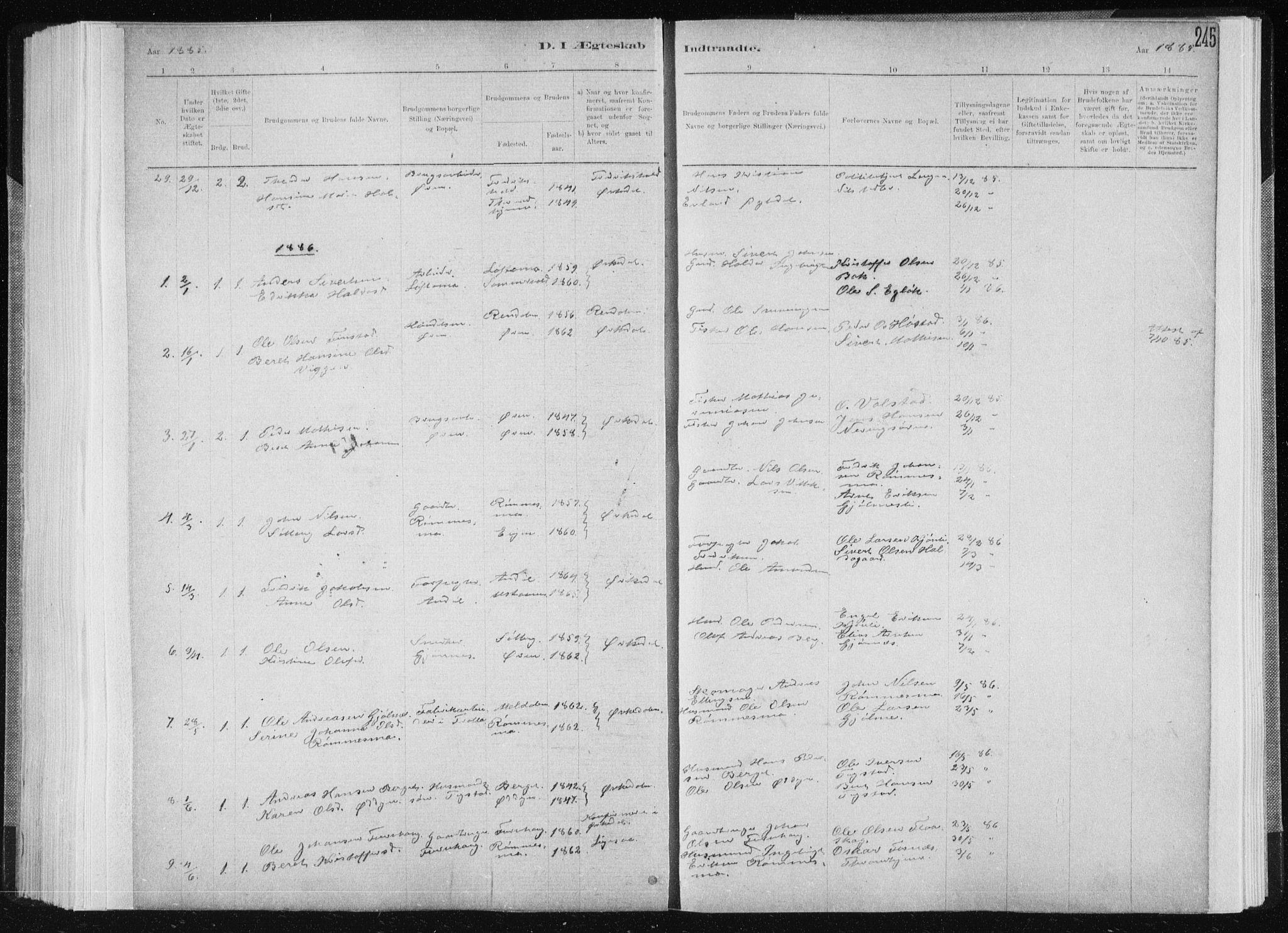 SAT, Ministerialprotokoller, klokkerbøker og fødselsregistre - Sør-Trøndelag, 668/L0818: Klokkerbok nr. 668C07, 1885-1898, s. 245