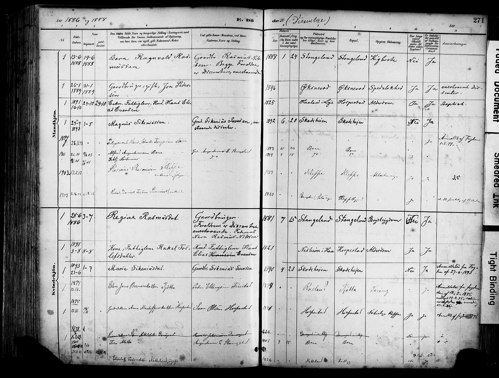 SAST, Klepp sokneprestkontor, 30BA/L0009: Ministerialbok nr. A 7, 1886-1915, s. 271