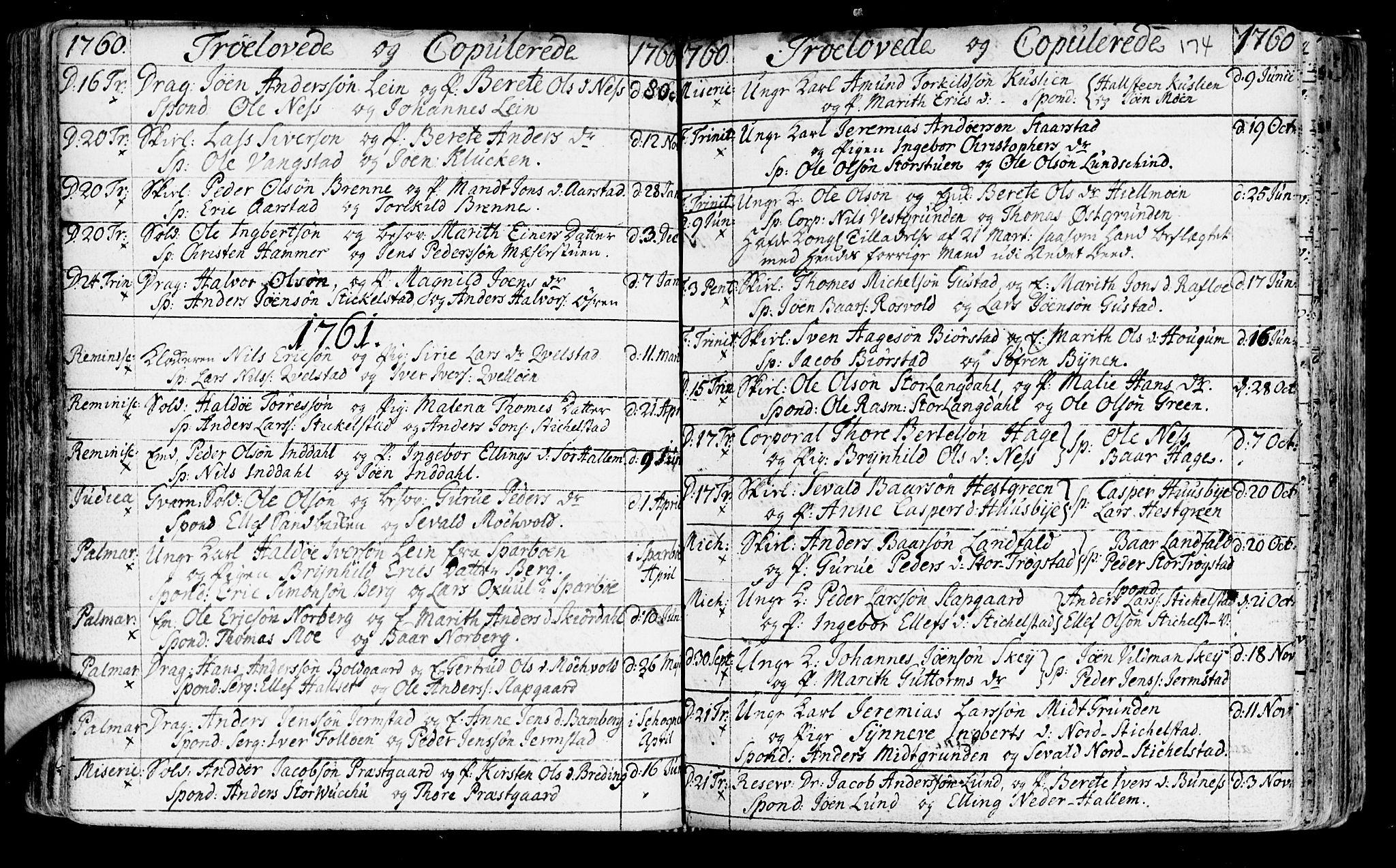 SAT, Ministerialprotokoller, klokkerbøker og fødselsregistre - Nord-Trøndelag, 723/L0231: Ministerialbok nr. 723A02, 1748-1780, s. 174
