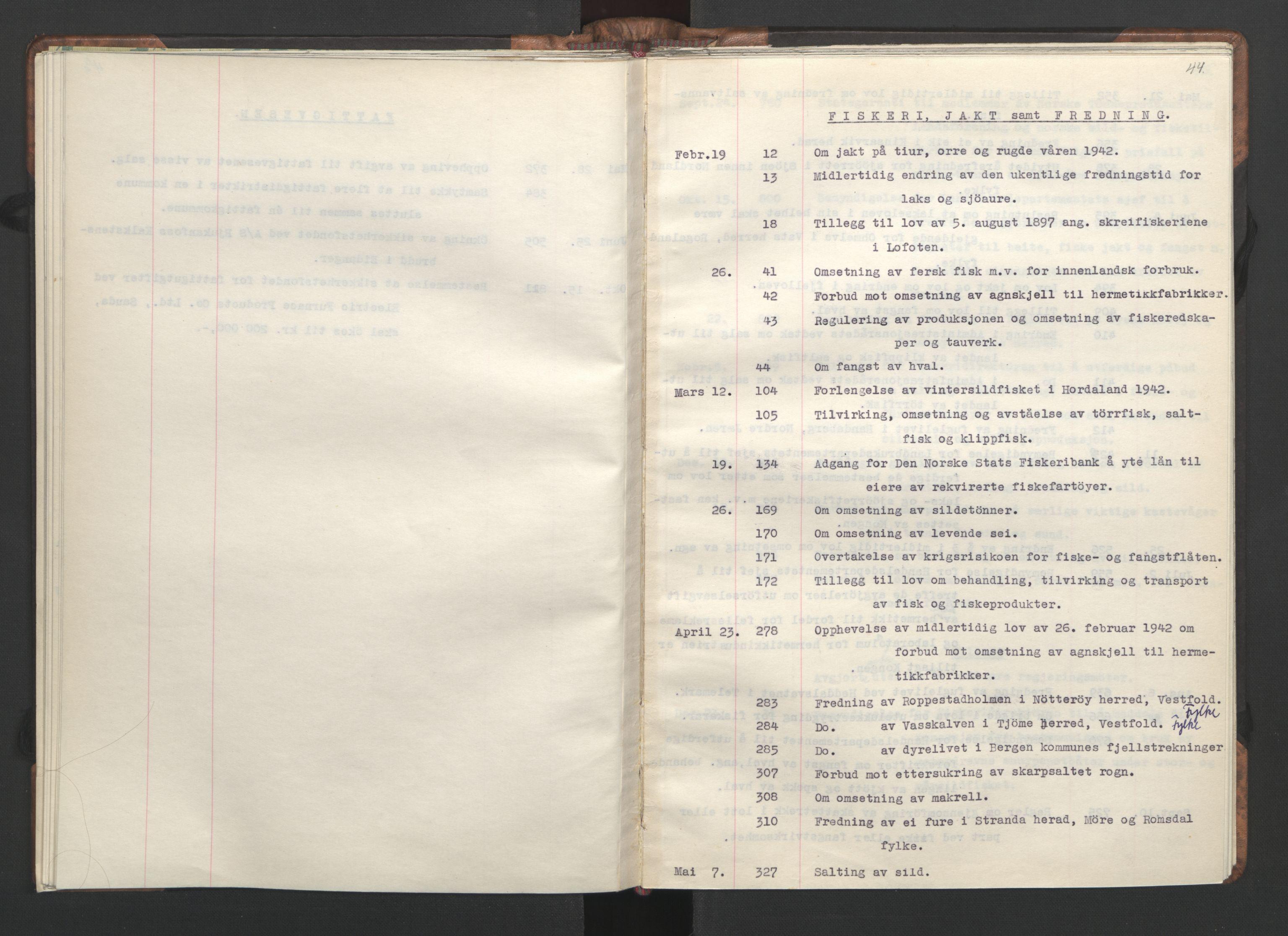 RA, NS-administrasjonen 1940-1945 (Statsrådsekretariatet, de kommisariske statsråder mm), D/Da/L0002: Register (RA j.nr. 985/1943, tilgangsnr. 17/1943), 1942, s. 43b-44a