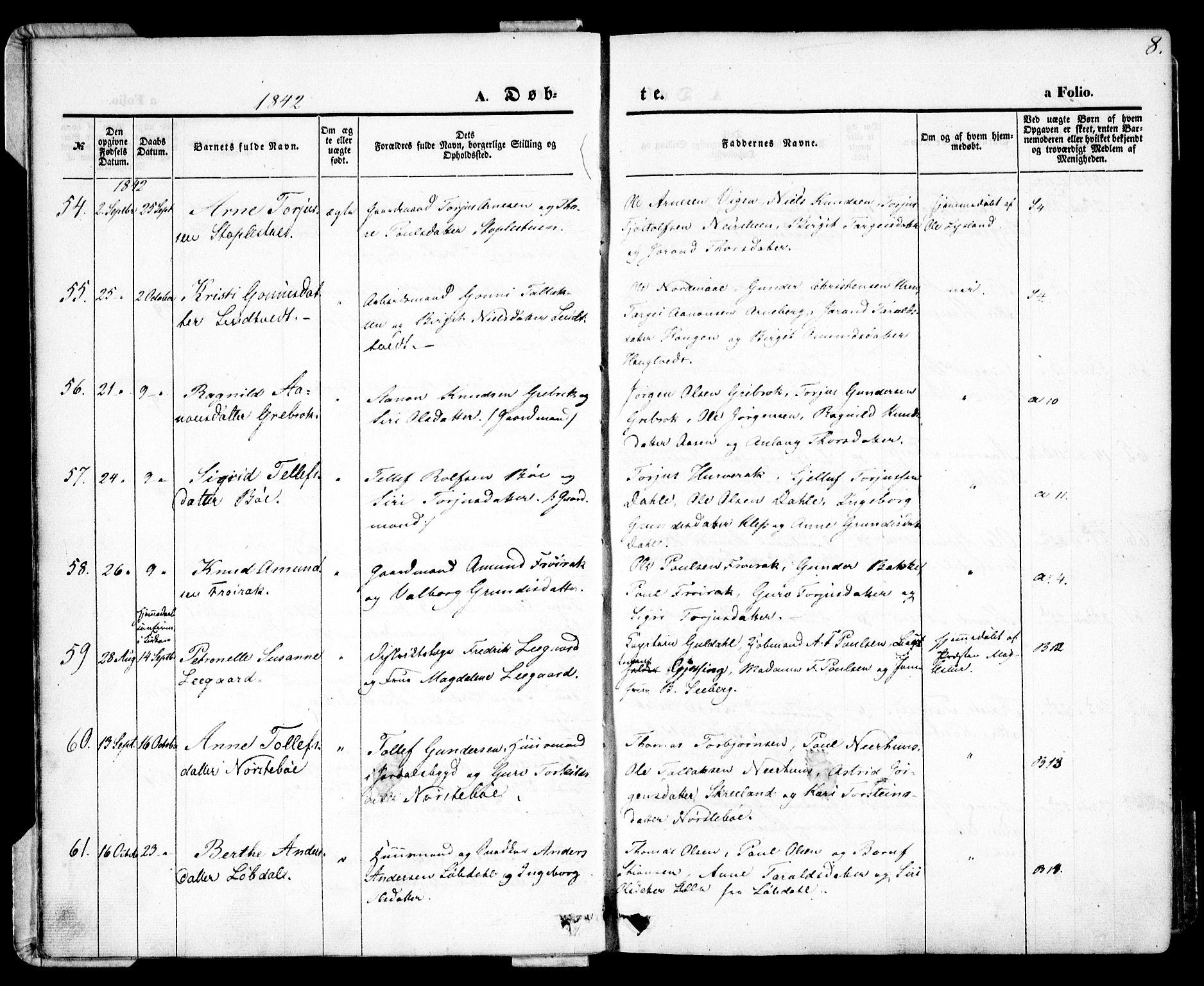 SAK, Bygland sokneprestkontor, F/Fa/Fab/L0004: Ministerialbok nr. A 4, 1842-1858, s. 8
