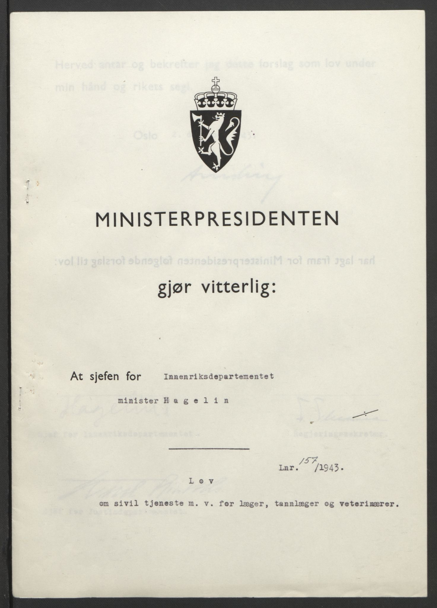 RA, NS-administrasjonen 1940-1945 (Statsrådsekretariatet, de kommisariske statsråder mm), D/Db/L0099: Lover, 1943, s. 743