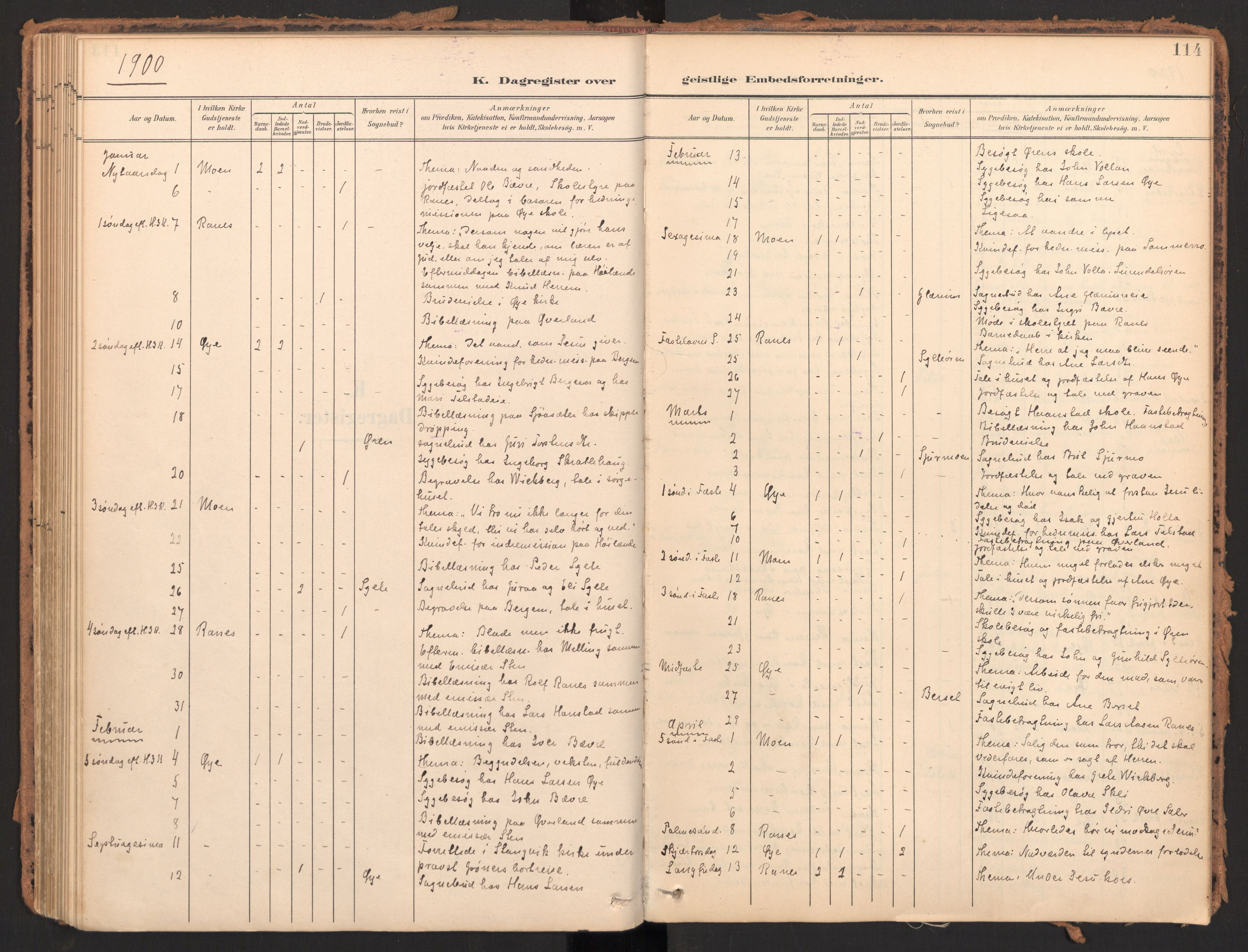 SAT, Ministerialprotokoller, klokkerbøker og fødselsregistre - Møre og Romsdal, 595/L1048: Ministerialbok nr. 595A10, 1900-1917, s. 114