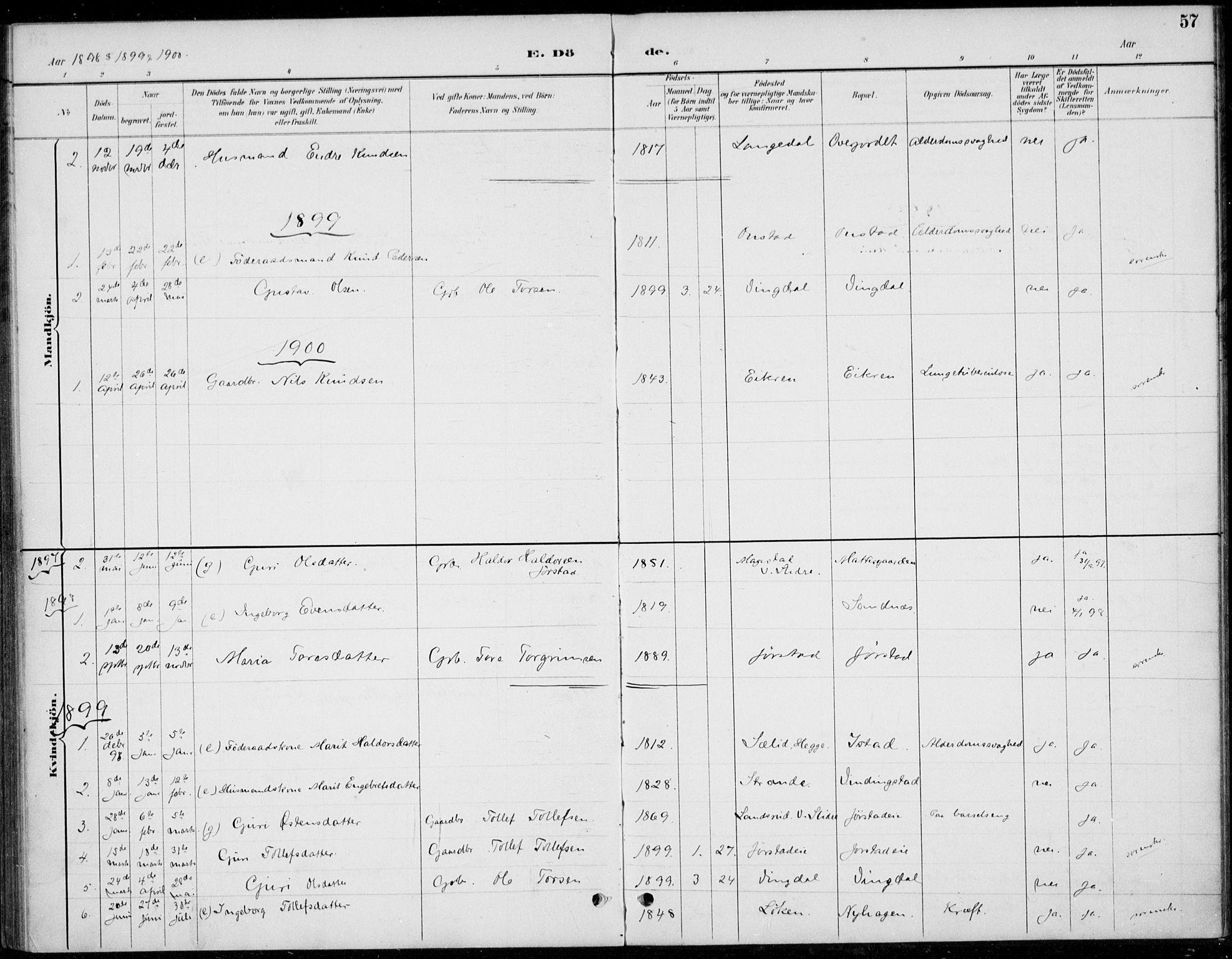 SAH, Øystre Slidre prestekontor, Ministerialbok nr. 5, 1887-1916, s. 57
