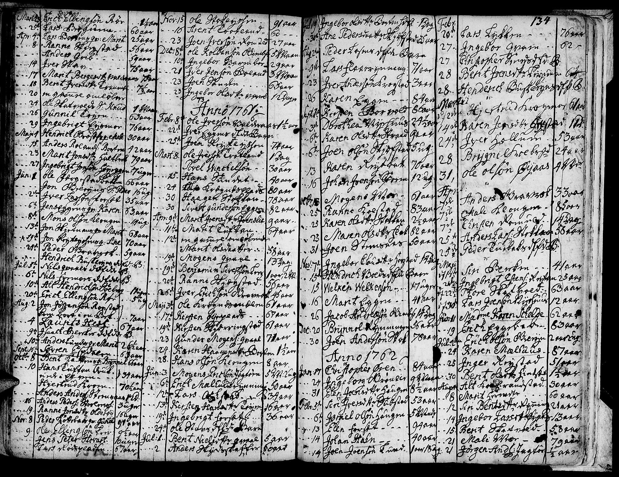 SAT, Ministerialprotokoller, klokkerbøker og fødselsregistre - Sør-Trøndelag, 691/L1057: Ministerialbok nr. 691A01 /1, 1740-1767, s. 134