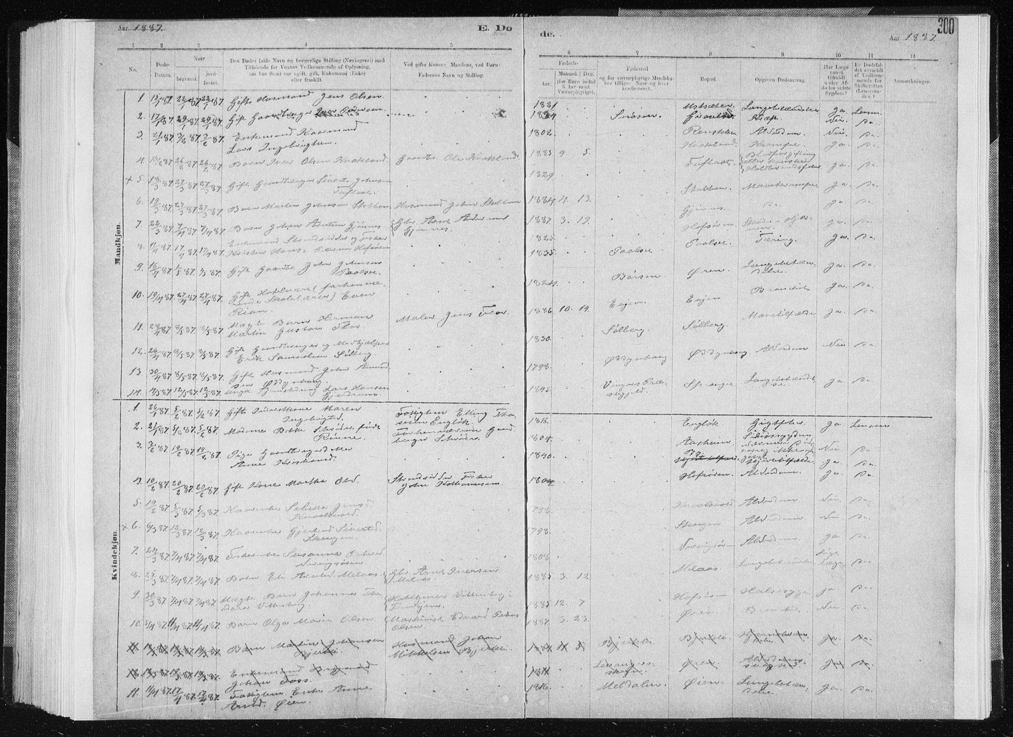 SAT, Ministerialprotokoller, klokkerbøker og fødselsregistre - Sør-Trøndelag, 668/L0818: Klokkerbok nr. 668C07, 1885-1898, s. 300