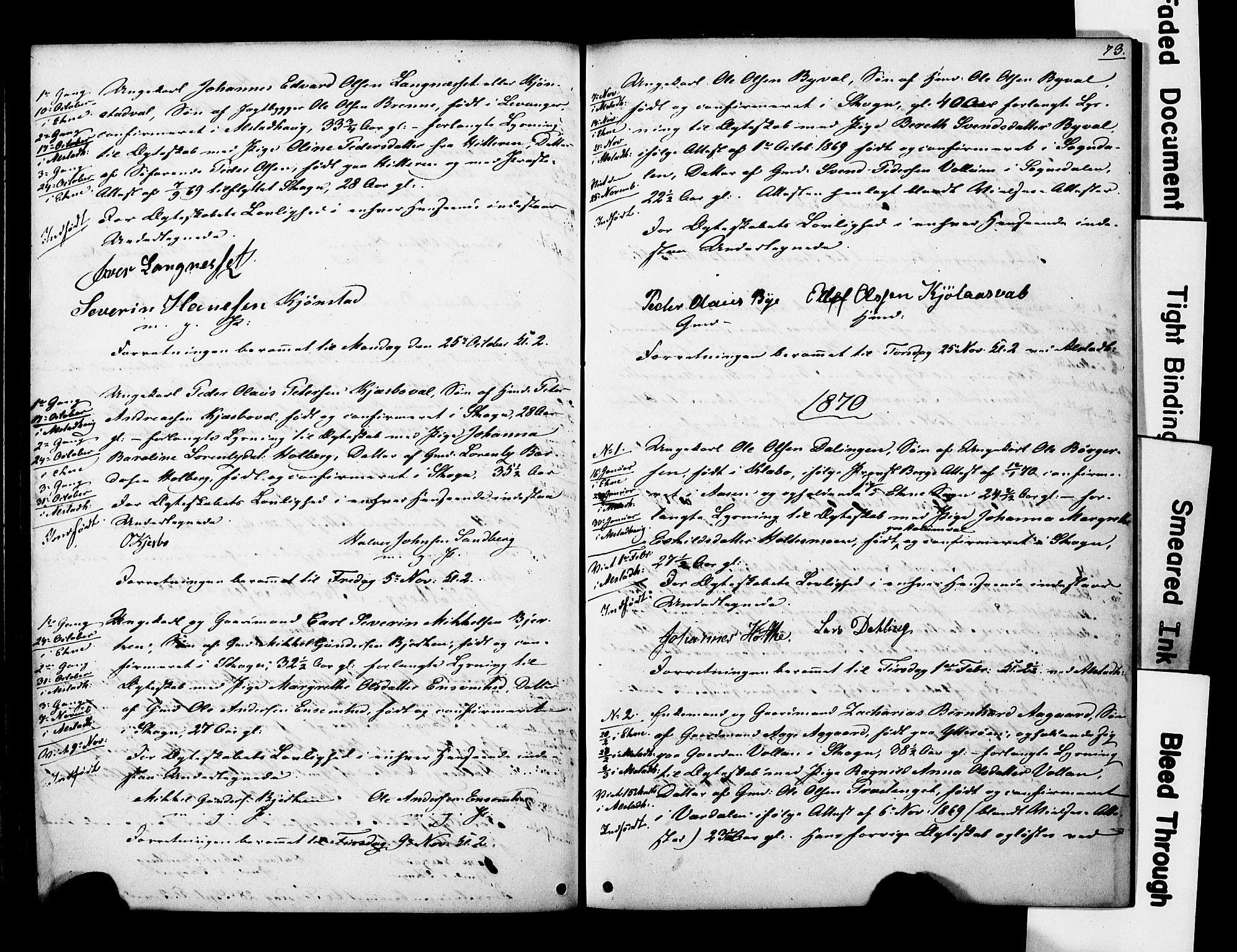 SAT, Ministerialprotokoller, klokkerbøker og fødselsregistre - Nord-Trøndelag, 717/L0161: Forlovererklæringer nr. 717A11, 1850-1895, s. 73