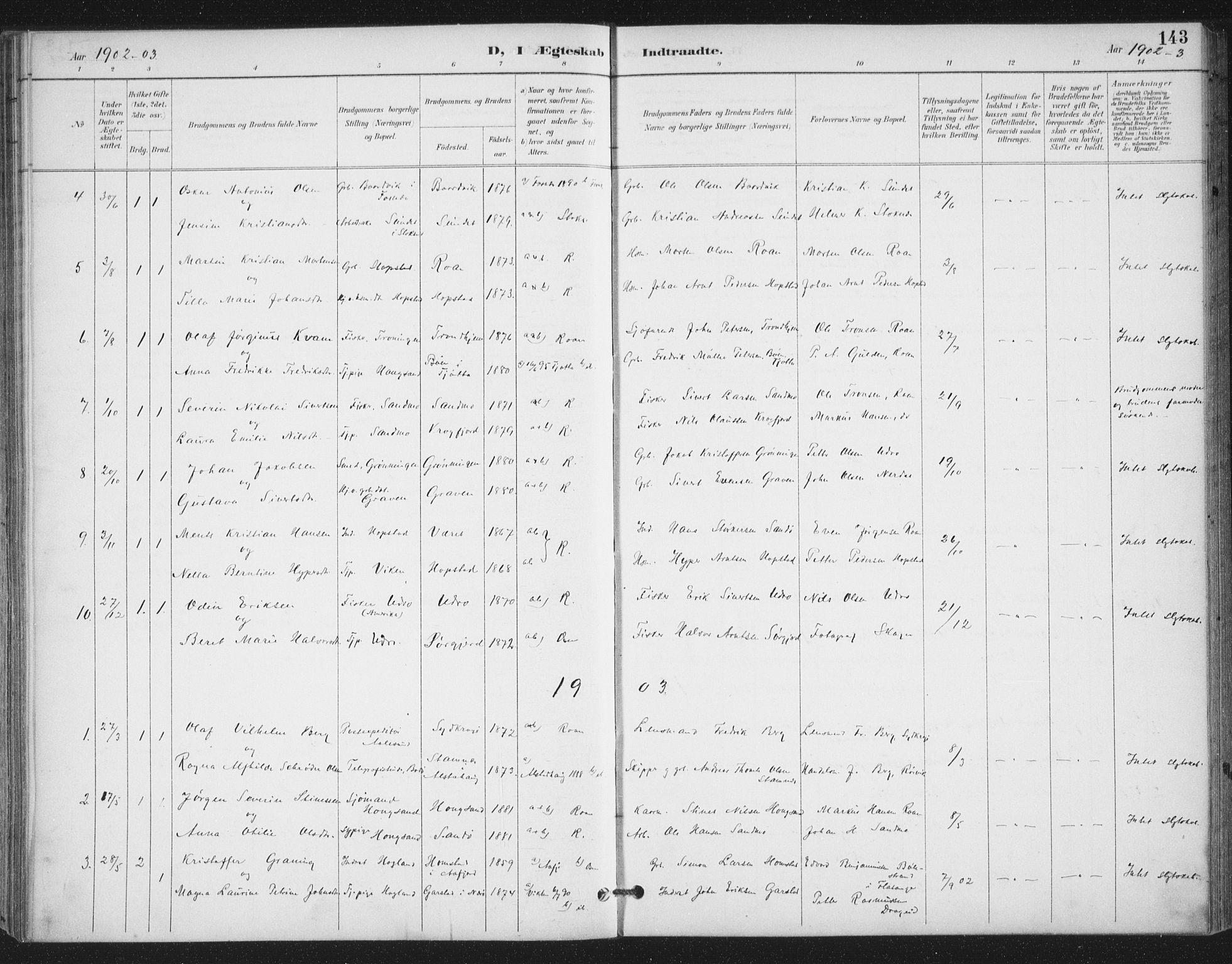 SAT, Ministerialprotokoller, klokkerbøker og fødselsregistre - Sør-Trøndelag, 657/L0708: Ministerialbok nr. 657A09, 1894-1904, s. 143