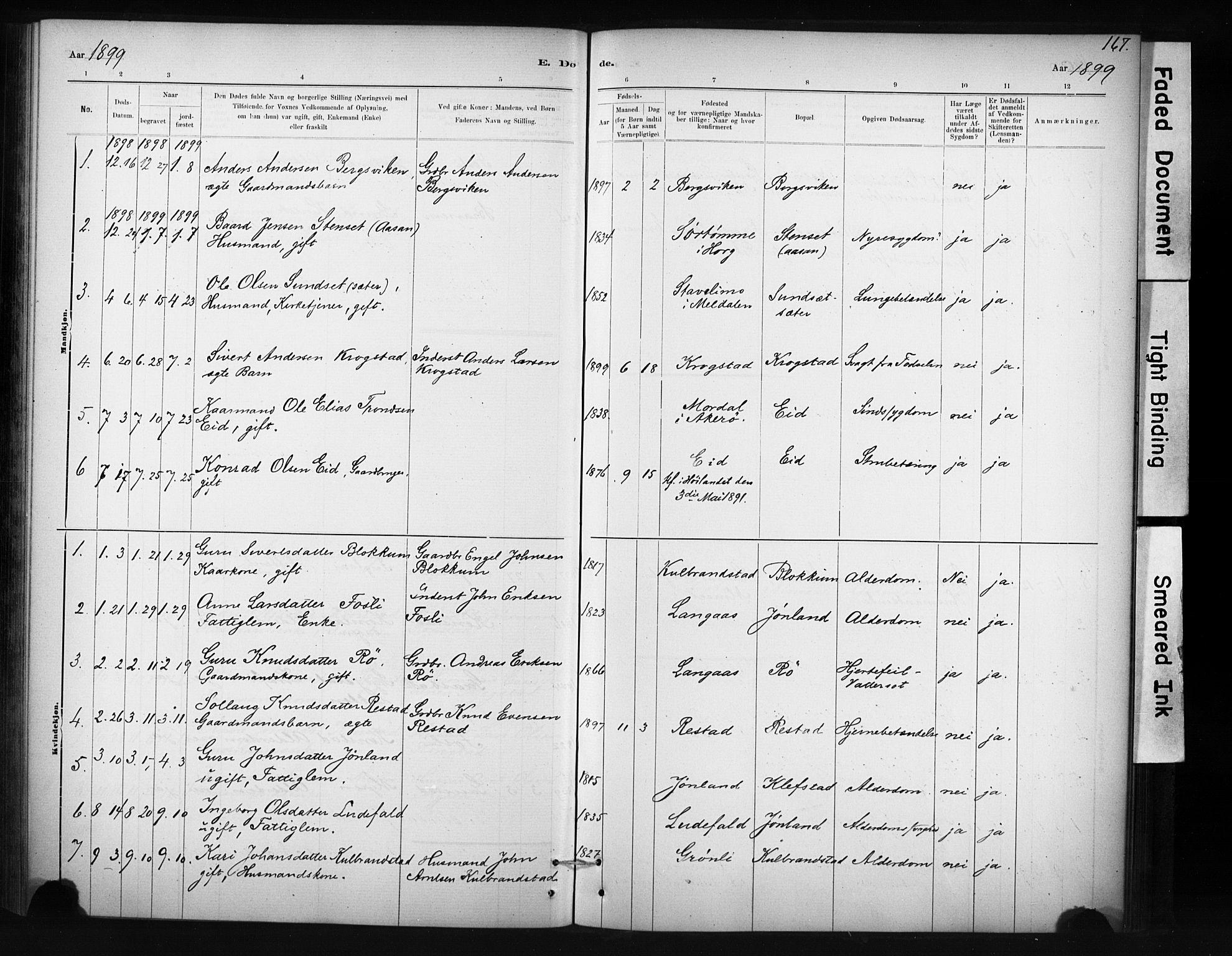 SAT, Ministerialprotokoller, klokkerbøker og fødselsregistre - Sør-Trøndelag, 694/L1127: Ministerialbok nr. 694A01, 1887-1905, s. 167