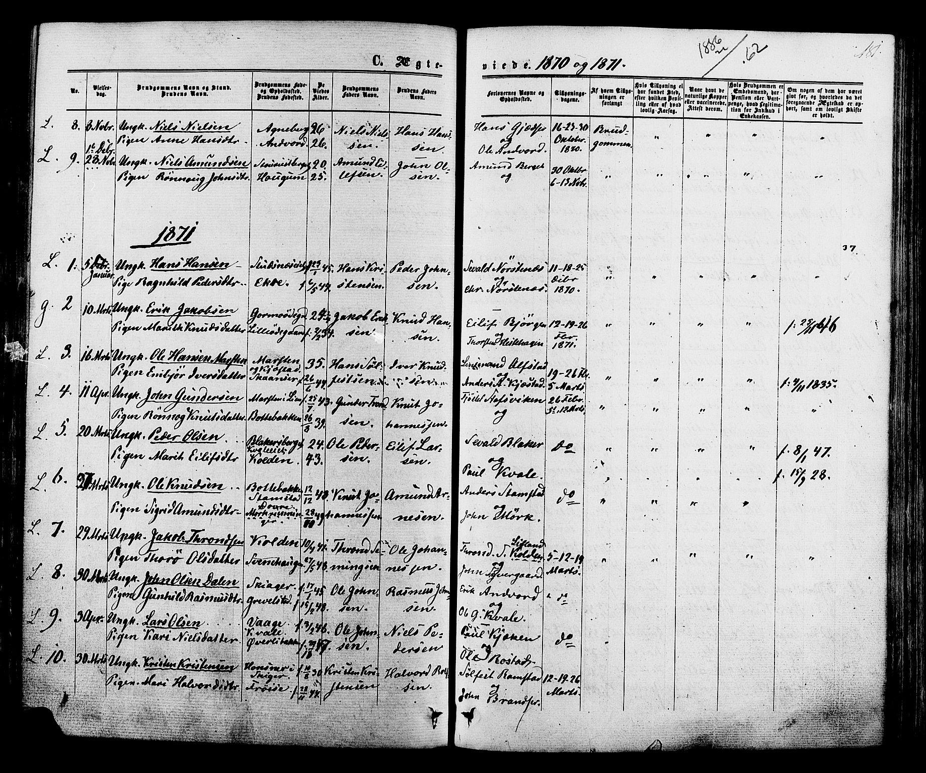 SAH, Lom prestekontor, K/L0007: Ministerialbok nr. 7, 1863-1884, s. 181