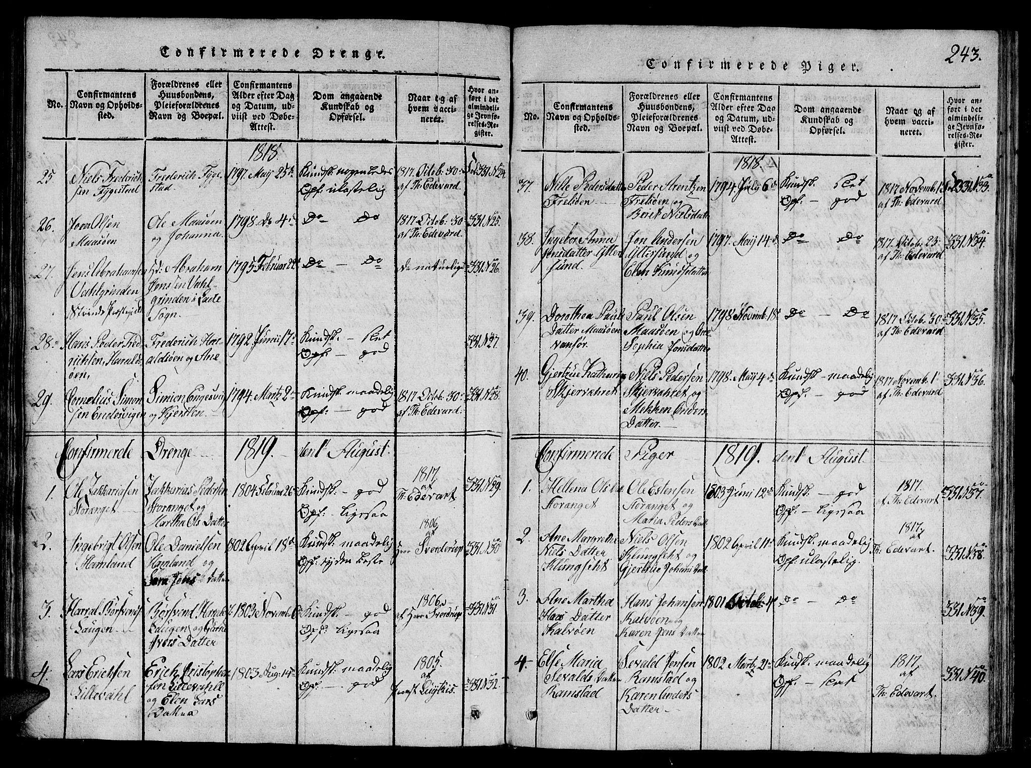 SAT, Ministerialprotokoller, klokkerbøker og fødselsregistre - Nord-Trøndelag, 784/L0667: Ministerialbok nr. 784A03 /1, 1816-1829, s. 243