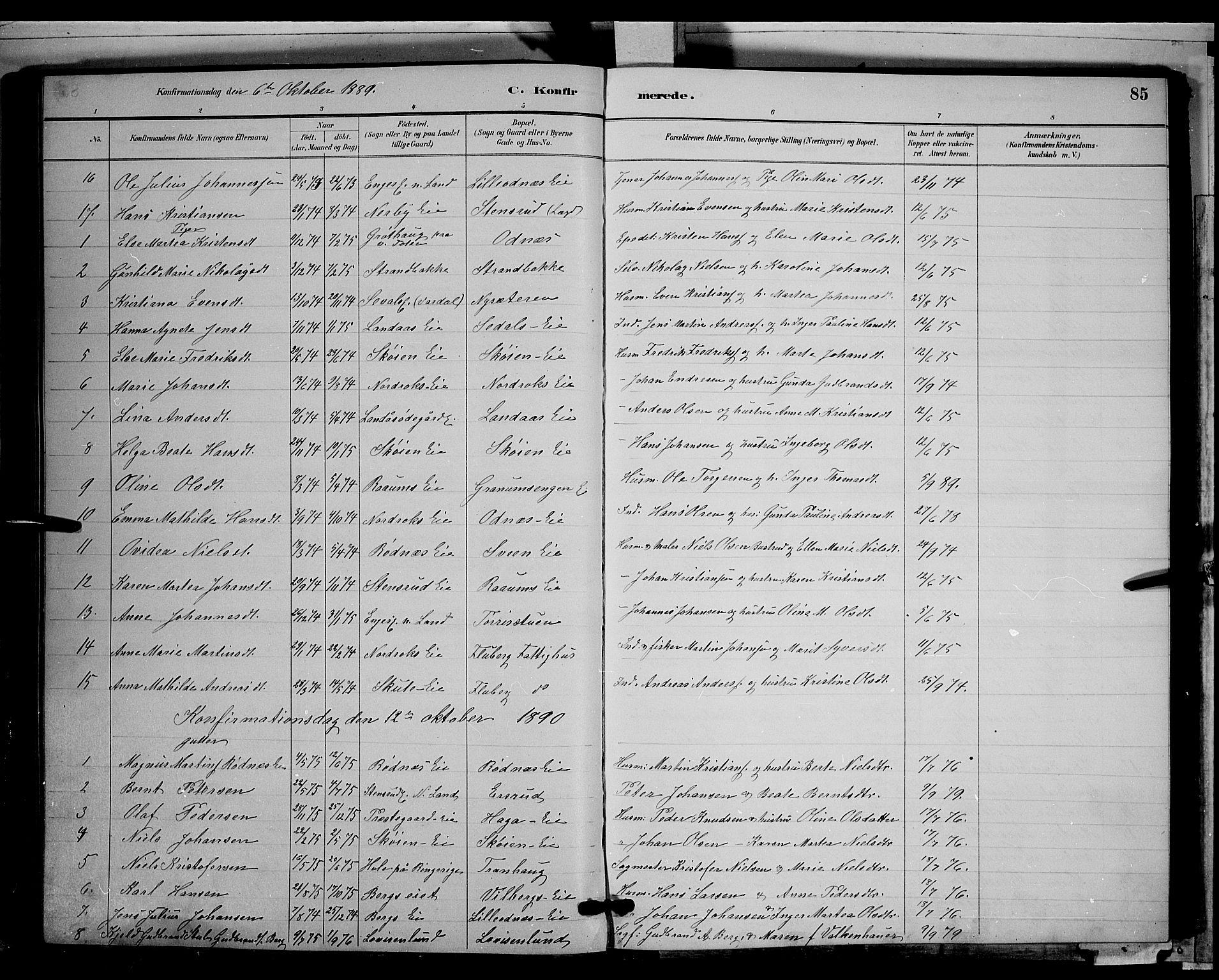 SAH, Søndre Land prestekontor, L/L0003: Klokkerbok nr. 3, 1884-1902, s. 85