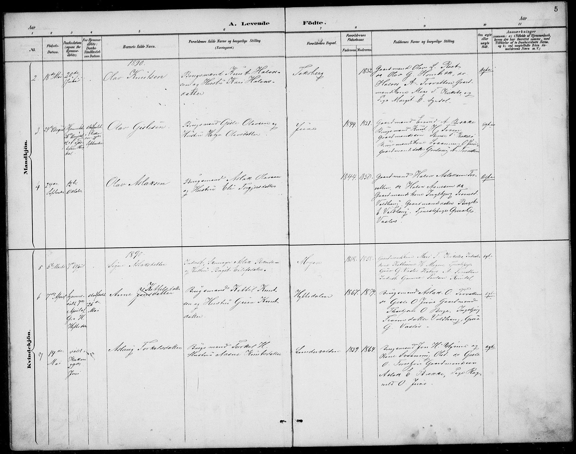 SAKO, Rauland kirkebøker, G/Gb/L0002: Klokkerbok nr. II 2, 1887-1937, s. 5