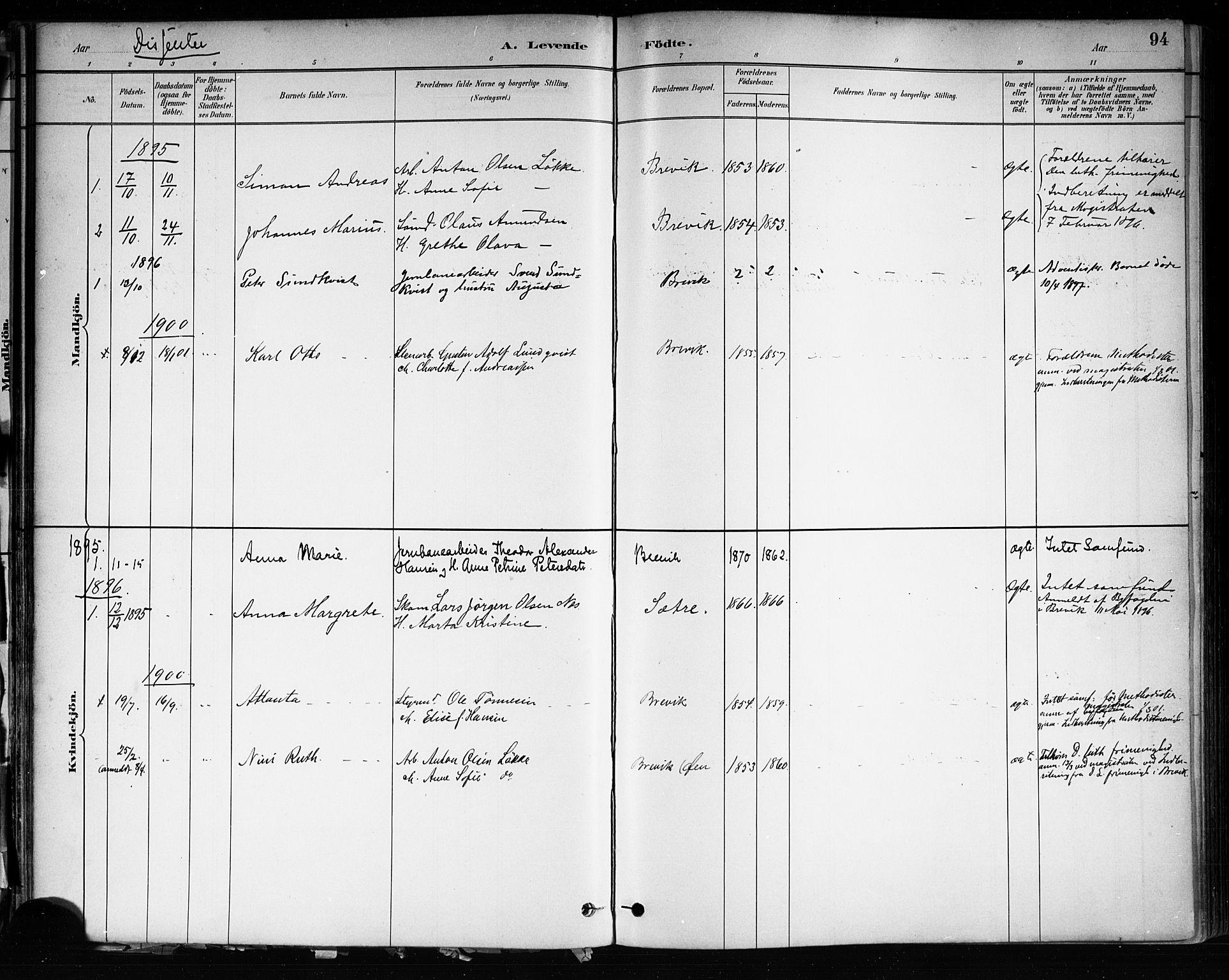 SAKO, Brevik kirkebøker, F/Fa/L0007: Ministerialbok nr. 7, 1882-1900, s. 94