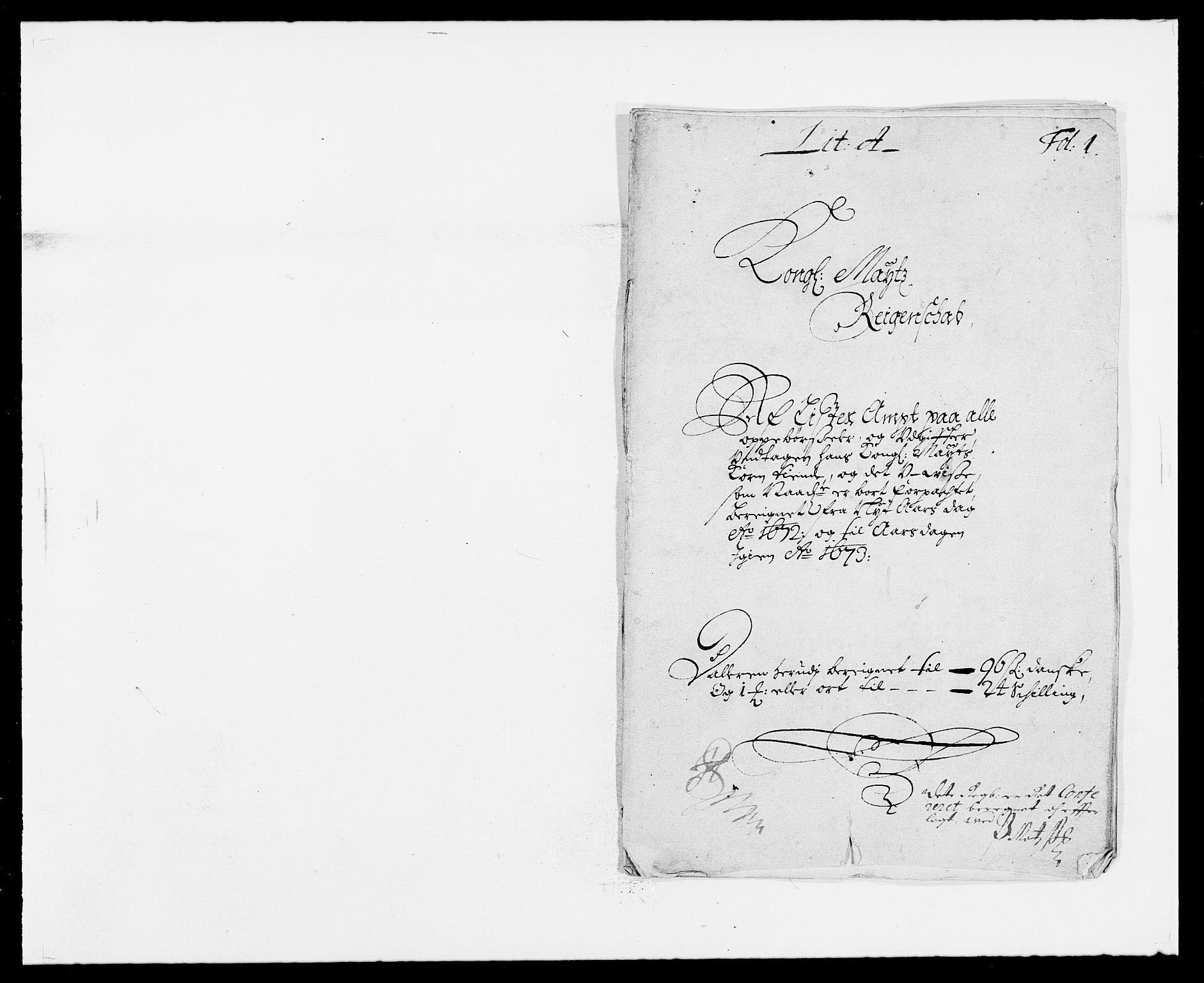 RA, Rentekammeret inntil 1814, Reviderte regnskaper, Fogderegnskap, R41/L2526: Fogderegnskap Lista, 1672, s. 1