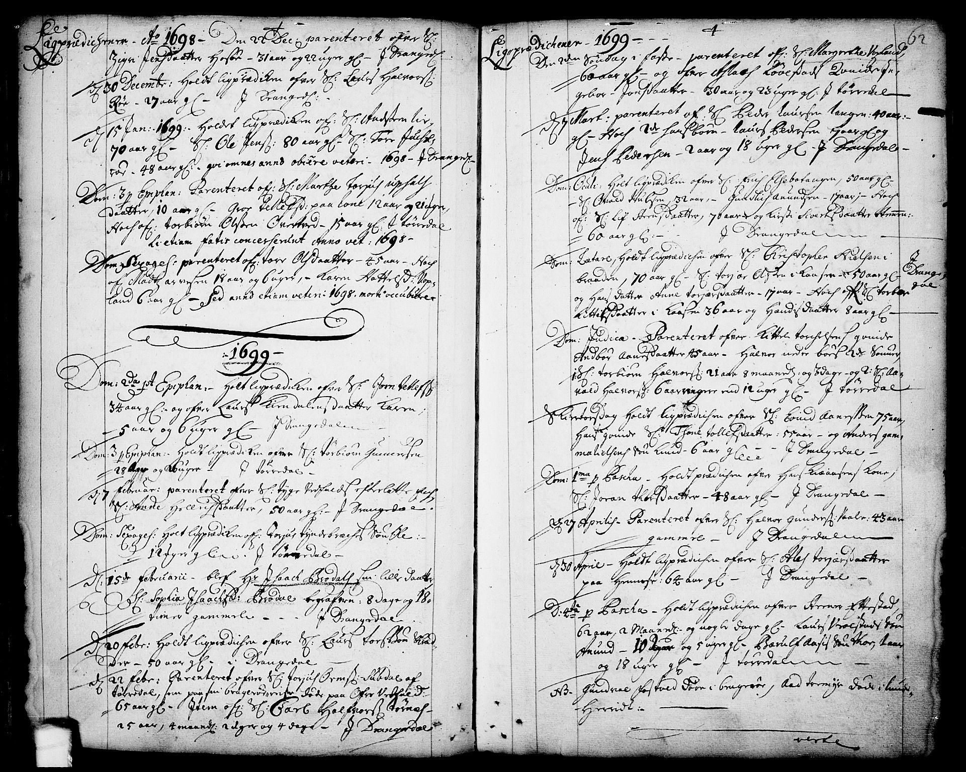 SAKO, Drangedal kirkebøker, F/Fa/L0001: Ministerialbok nr. 1, 1697-1767, s. 62