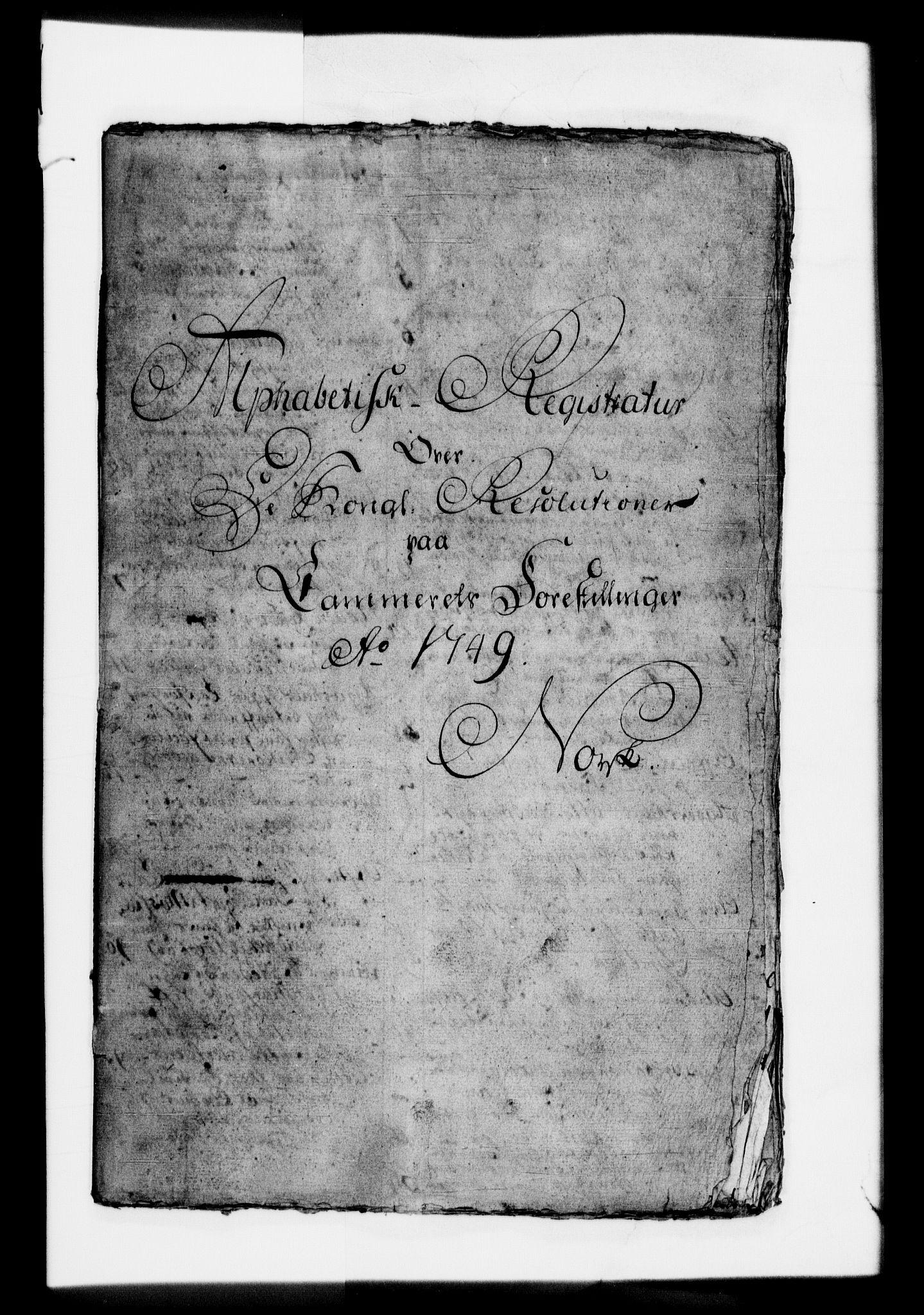 RA, Rentekammeret, Kammerkanselliet, G/Gf/Gfb/L0001: Register til norske relasjons- og resolusjonsprotokoller (merket RK 52.96), 1720-1749, s. 503