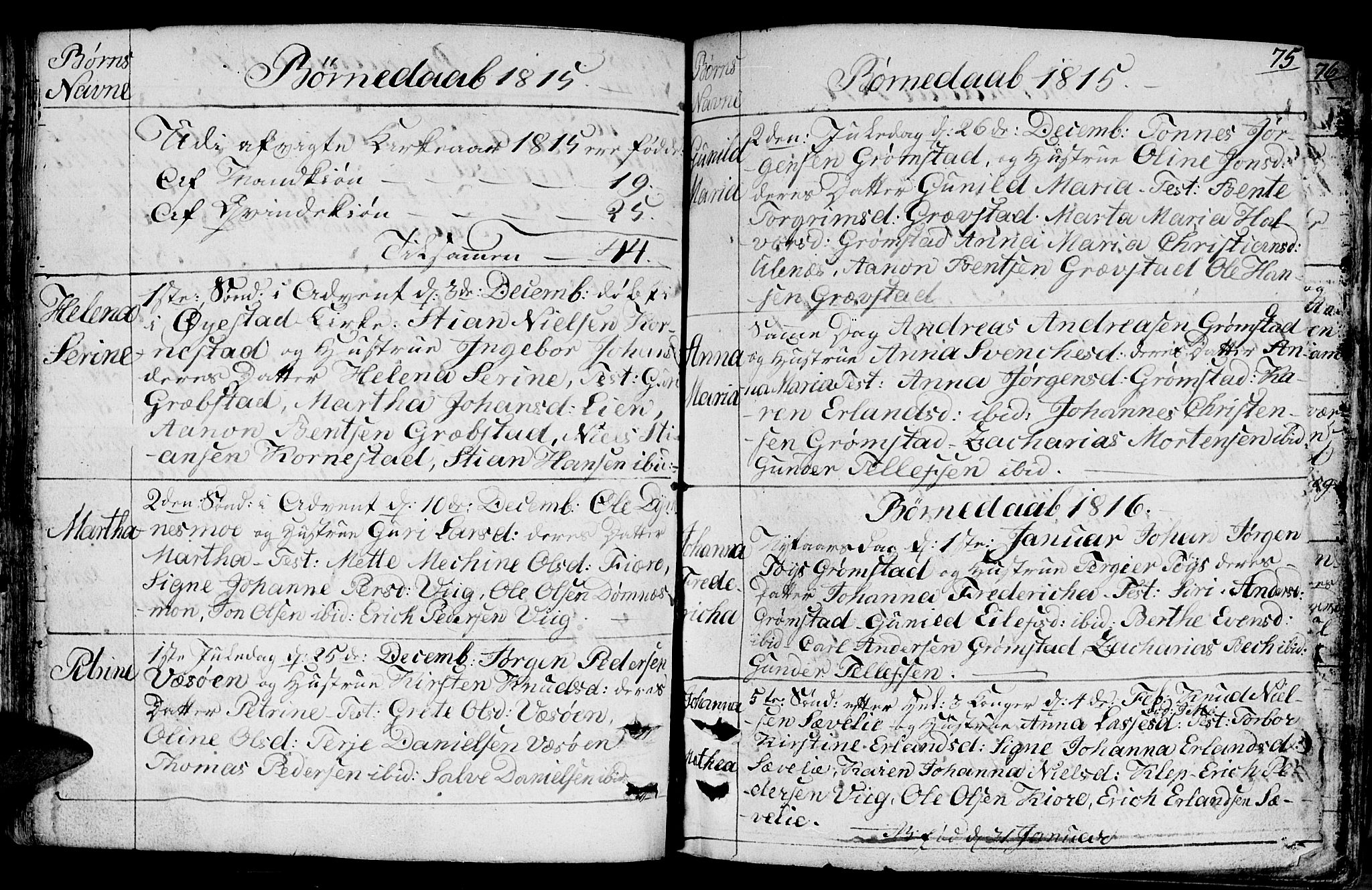 SAK, Fjære sokneprestkontor, F/Fb/L0006: Klokkerbok nr. B 6, 1803-1817, s. 75