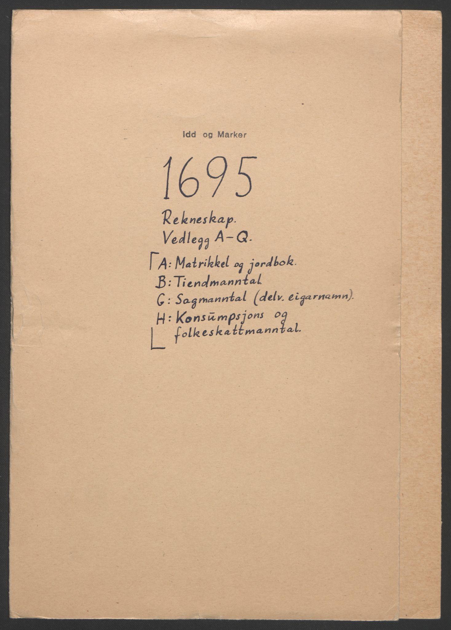 RA, Rentekammeret inntil 1814, Reviderte regnskaper, Fogderegnskap, R01/L0012: Fogderegnskap Idd og Marker, 1694-1695, s. 159