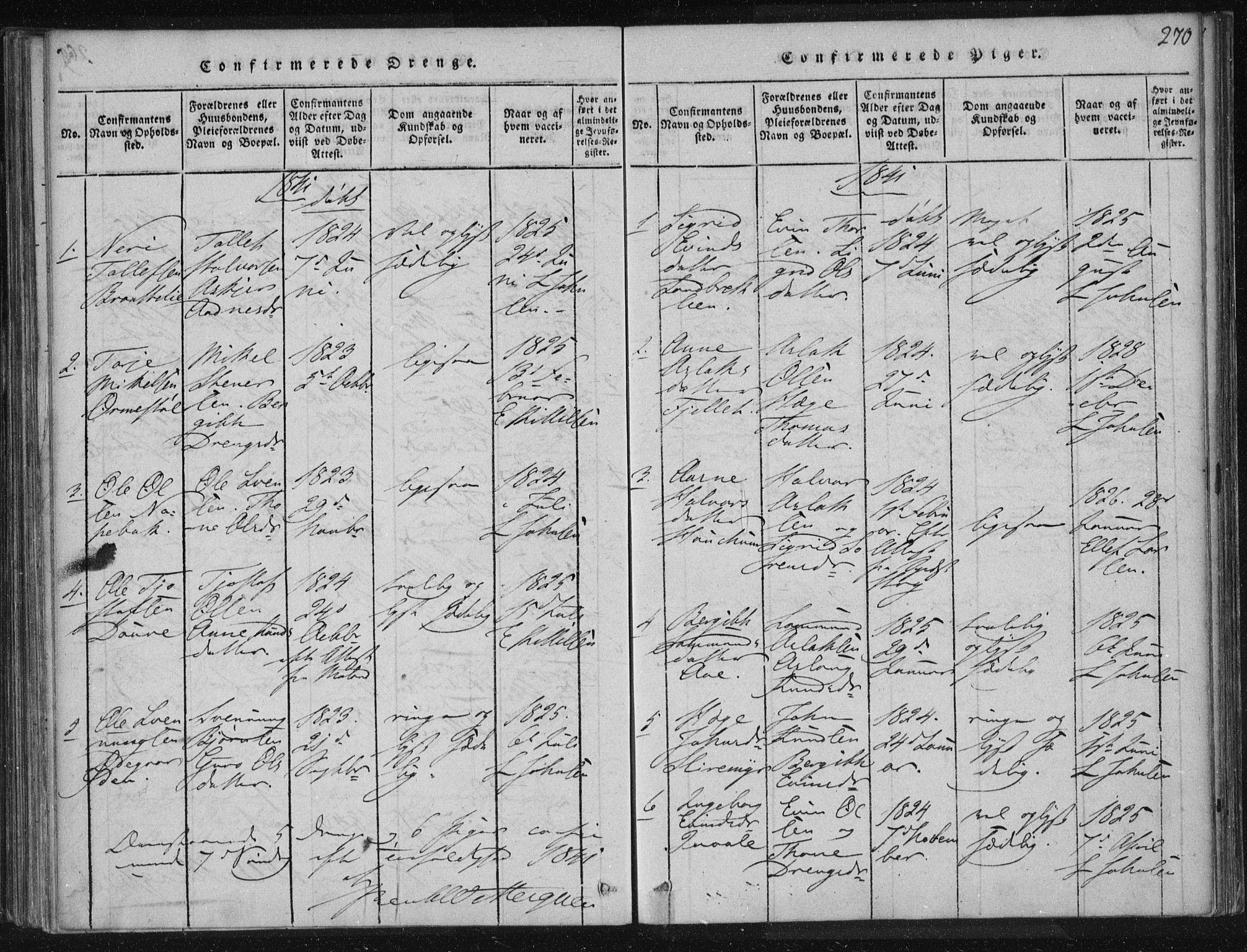 SAKO, Lårdal kirkebøker, F/Fc/L0001: Ministerialbok nr. III 1, 1815-1860, s. 270