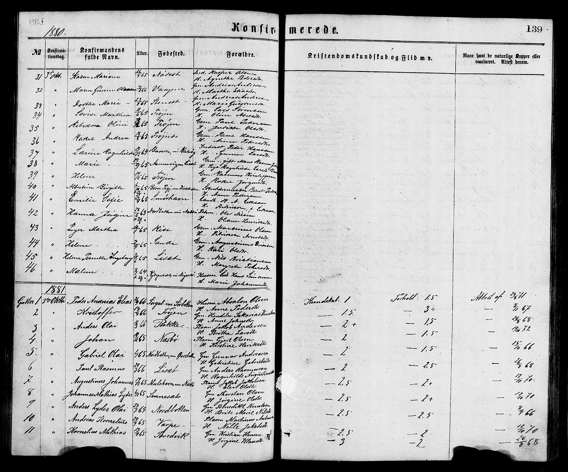 SAB, Bremanger Sokneprestembete, H/Hab: Klokkerbok nr. A 2, 1866-1889, s. 139