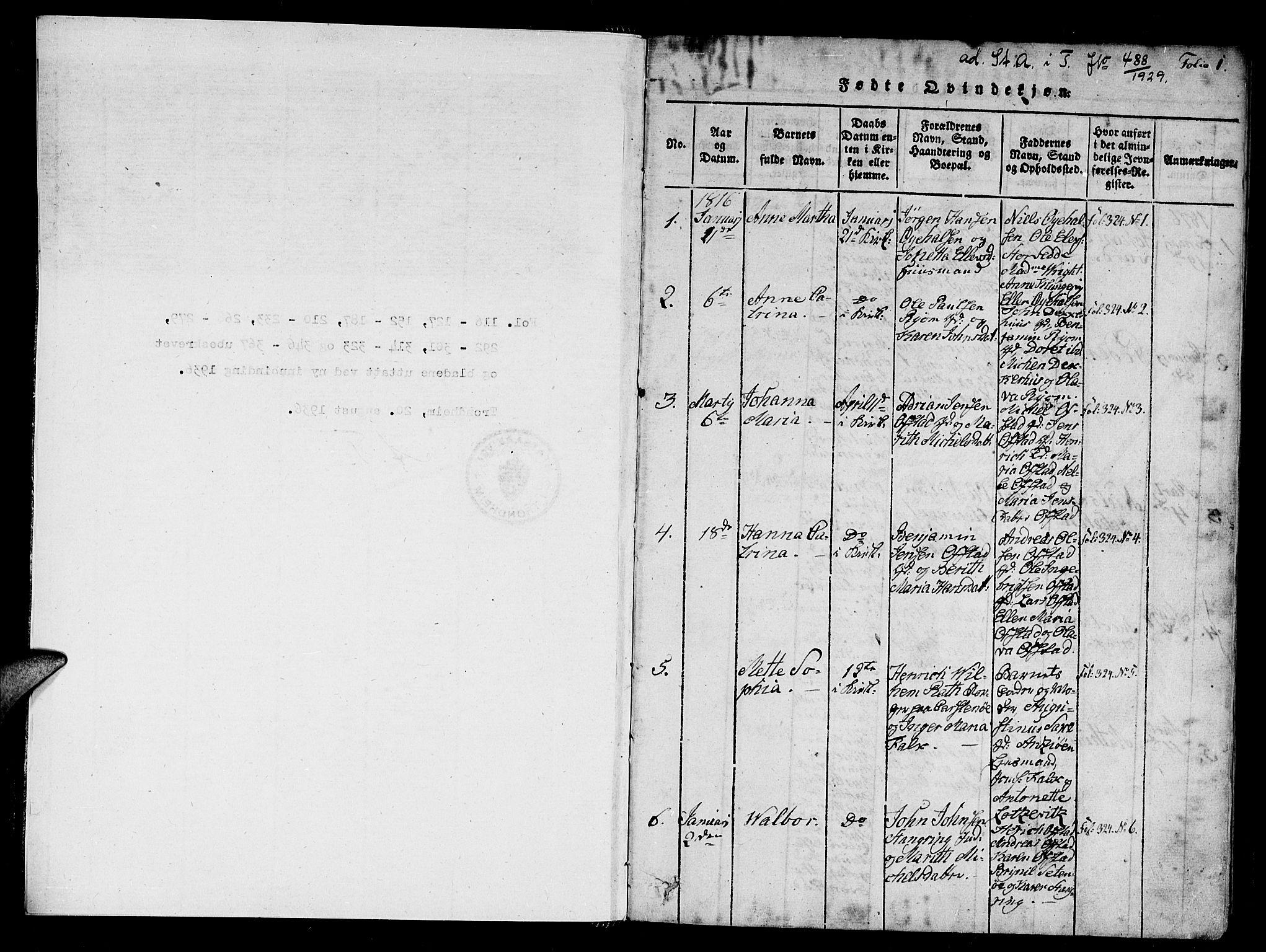 SAT, Ministerialprotokoller, klokkerbøker og fødselsregistre - Nord-Trøndelag, 784/L0667: Ministerialbok nr. 784A03 /1, 1816-1829, s. 1